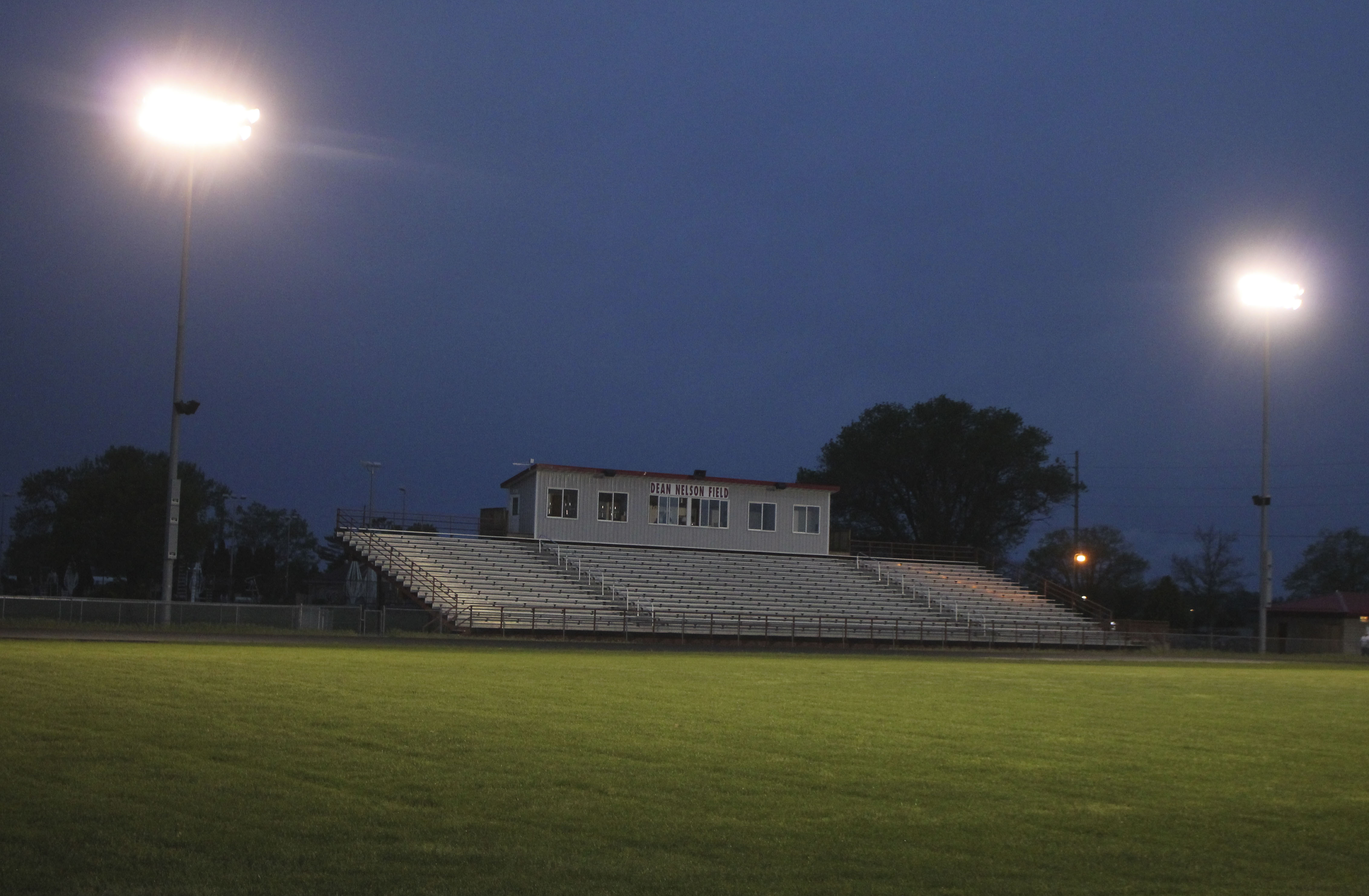 The lights shine at Dean Nelson Field on the evening of May 24 to honor the Monticello High School Class of 2020. The lights went on at 8:20 p.m. (20:20 in military time), and remained on for 80 minutes – one for each graduating senior. (Photos by Pete Temple)