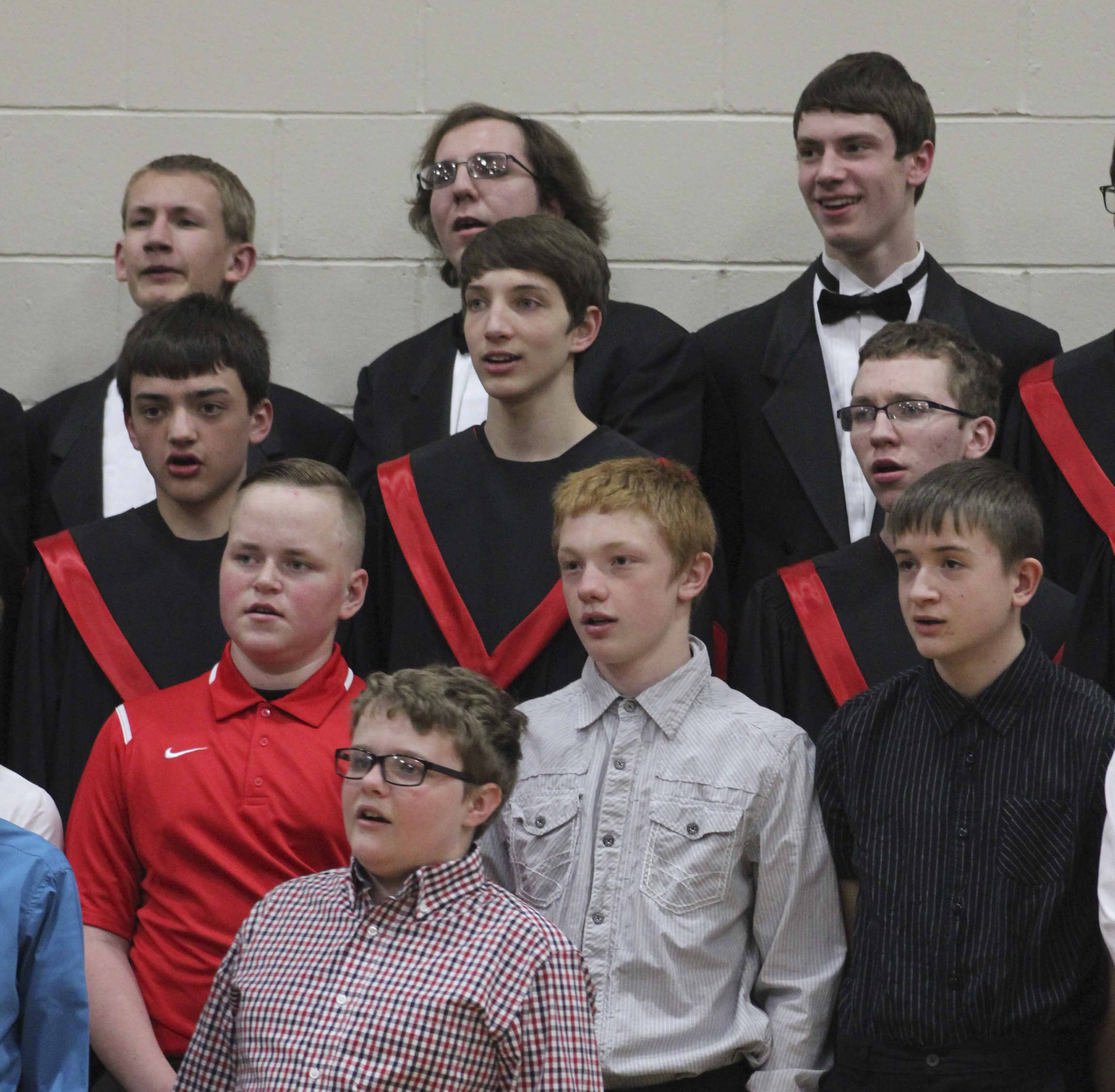 High school and middle school students sing together during the 7th-12th Grade All-Vocal Concert March 20 in the Monticello High School gym. Performers include, first row: Brenden Dirks. Second row from left: Lucas Bartachek, Brenden Koppes and Jordan Reth. Third row: Zach Chapman, Caden Ungs and Gabe Wright. Third row: Ryan Oswald, Tyler Sproston and Alan Janssen. (Photos by Pete Temple)