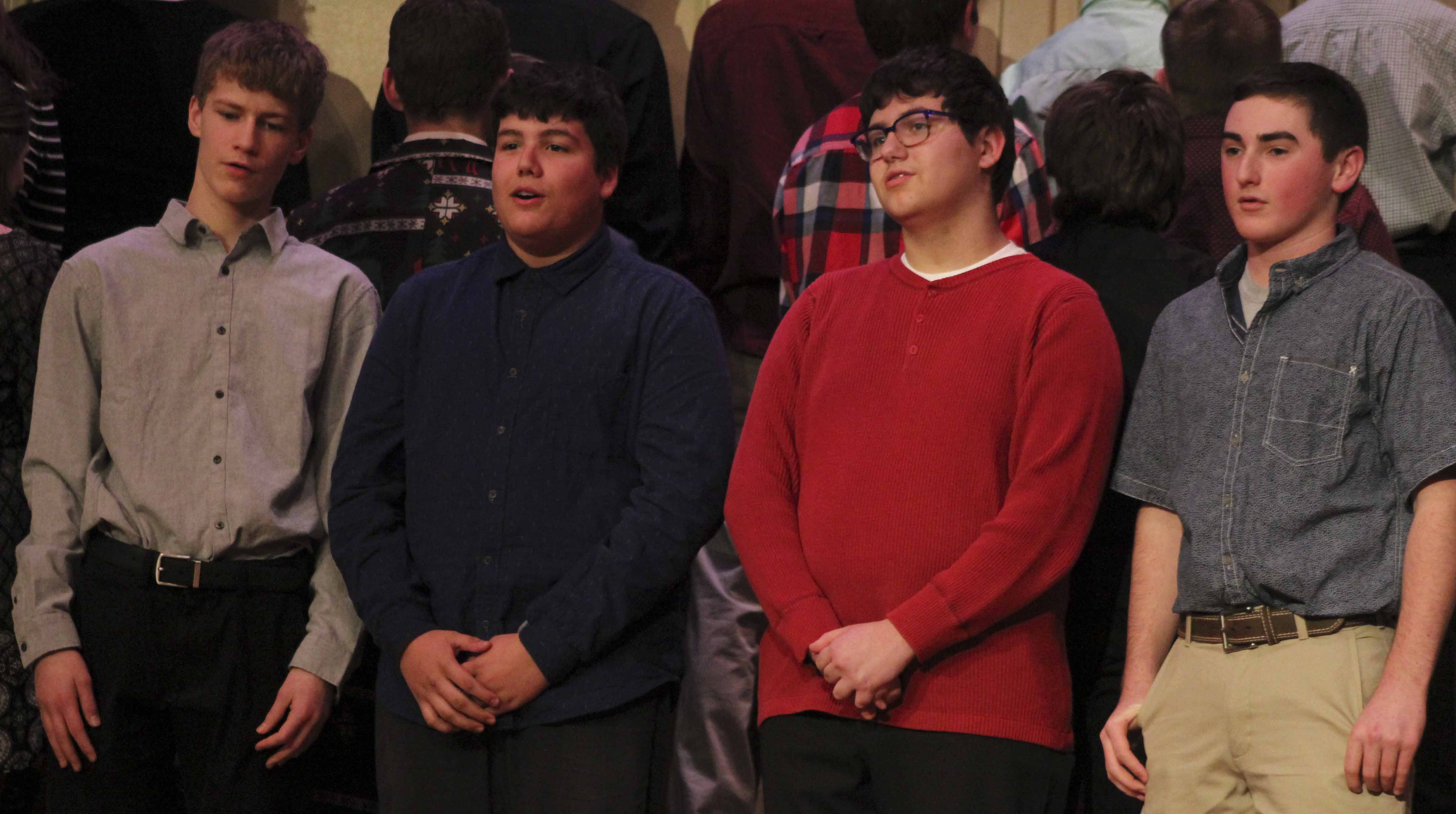 """Monticello Middle School presented """"A Christmas Noel,"""" a grade 7-8 vocal concert, Dec. 18 in the middle school auditorium. Eighth-grade performers include, from left: Austin Kurt, Ian Taylor, Brodie Clemmons and Dillon McDonald."""