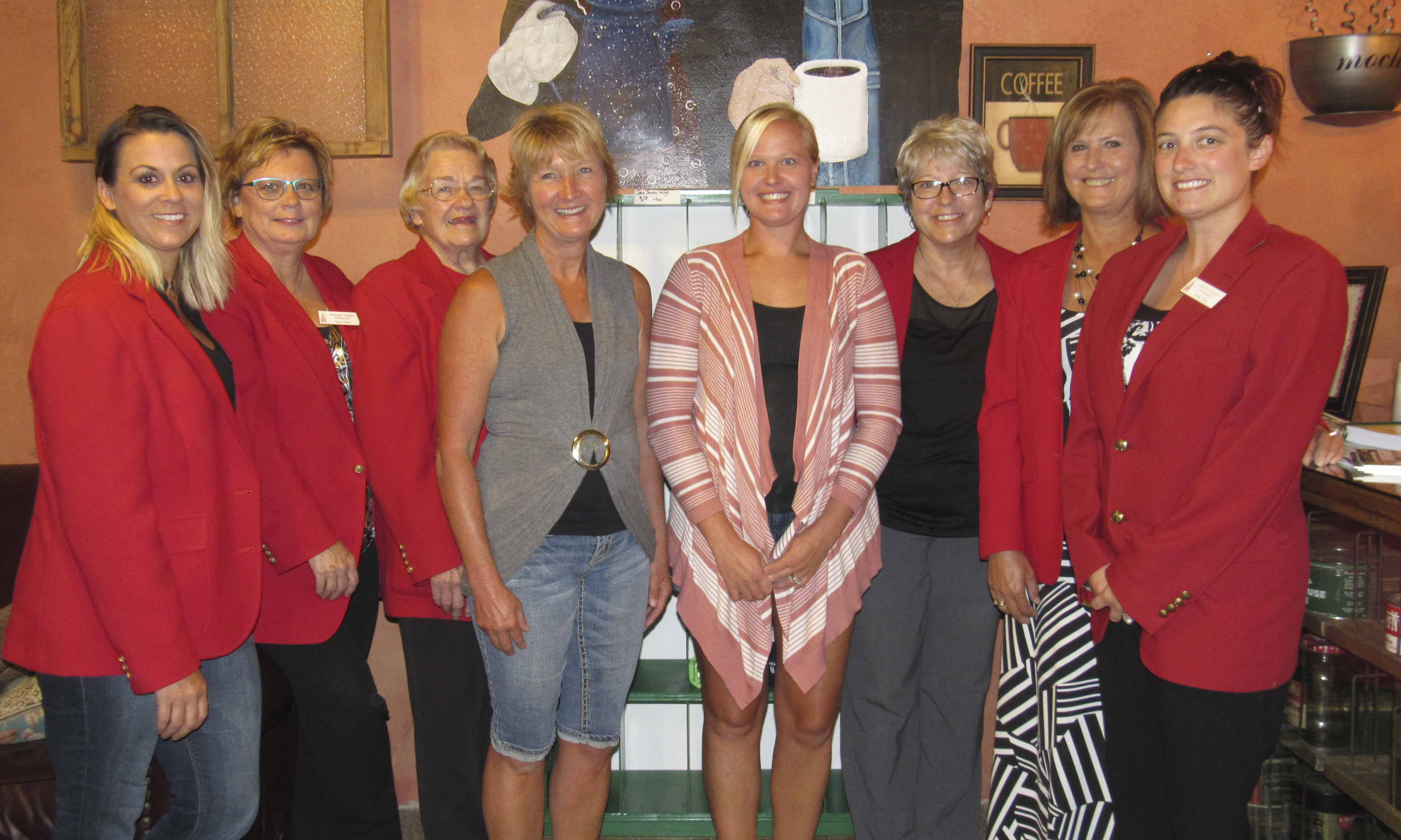 The Monticello Chamber Ambassadors welcomed the new owners of Java Jones, mother and daughter Lisa Monk and Ashley Zumbach. From left are Ambassadors Kimberly Kremer, Suzan Ehlers, Judy Tuetken, Monk and Zumbach, and Ambassadors Kathy Bone, Sandy Moats, and Ashley Faust. (Photo by Kim Brooks)