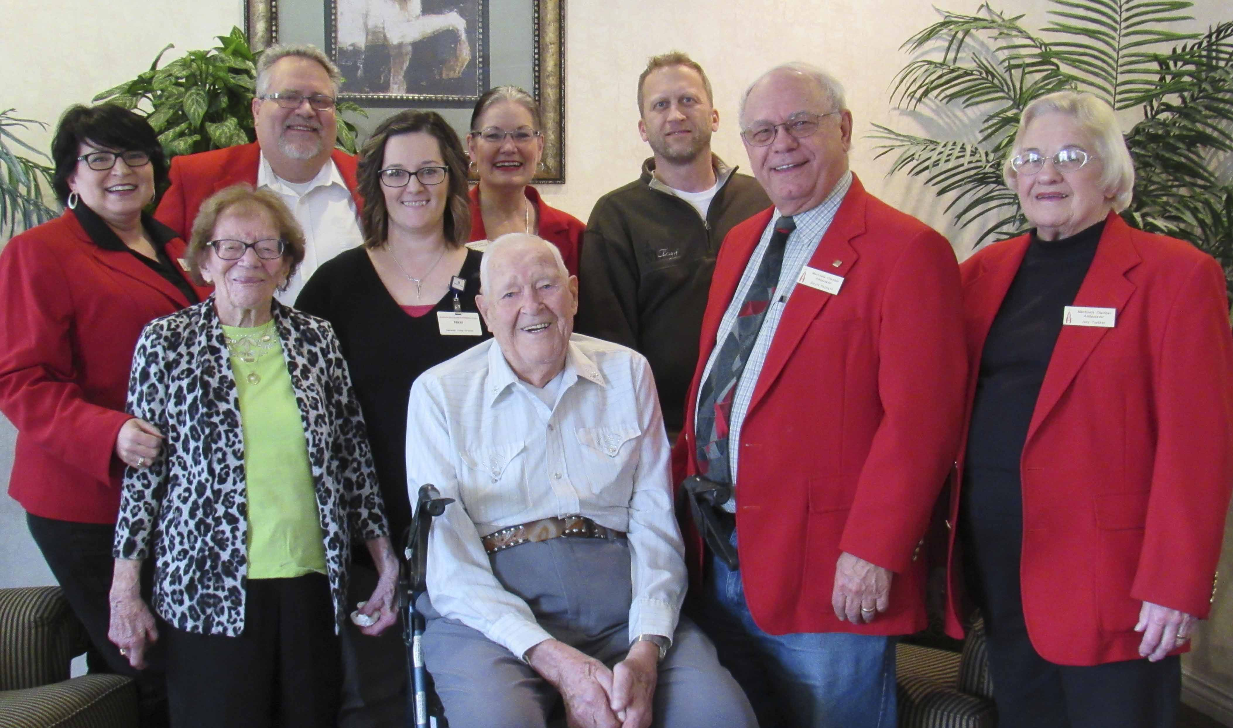 The Monticello Chamber Ambassadors welcomed Nikki Siebels as the new director at Pennington Square Assisted Living Center. Front from left are Pennington tenants Naomi Bender and Ed Brokens, Ambassadors Jerry Retzlaff and Judy Tuetken. Back row, Annette Smith, Craig Thompson, Siebels, Chamber Director Jan Hoag, and Doug Herman. (Photo by Kim Brooks)