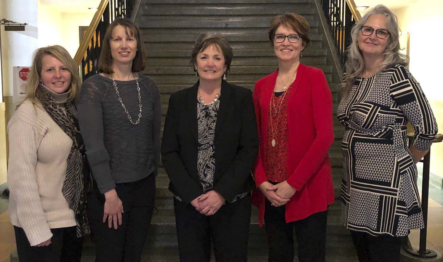On Dec. 30, the Auditor's Office held an open house event commemorating Janine Sulzner's retirement as county auditor. From left are Deputy Auditors Vicki Starn and Michele Lubben, Sulzner, and Deputy Auditors Kim Sorgenfrey and Gwyn Gapinski. (Photo submitted)