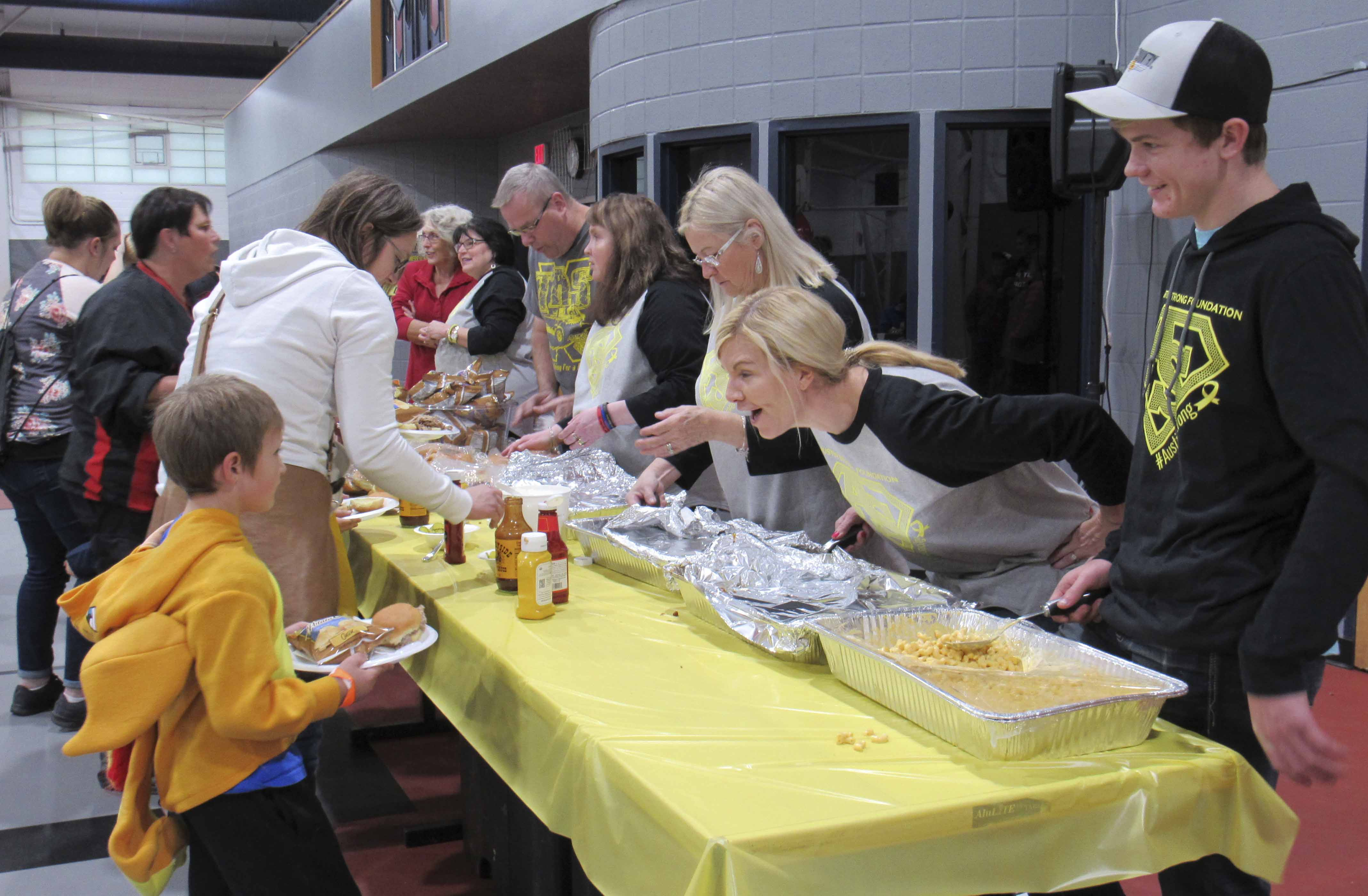 So many volunteers helped to make Austin's Halloween Fun Night a successful event. The meal was provided by Sally's on Broadway in Springville. Sally's served many of Austin Smith's favorite menu items.