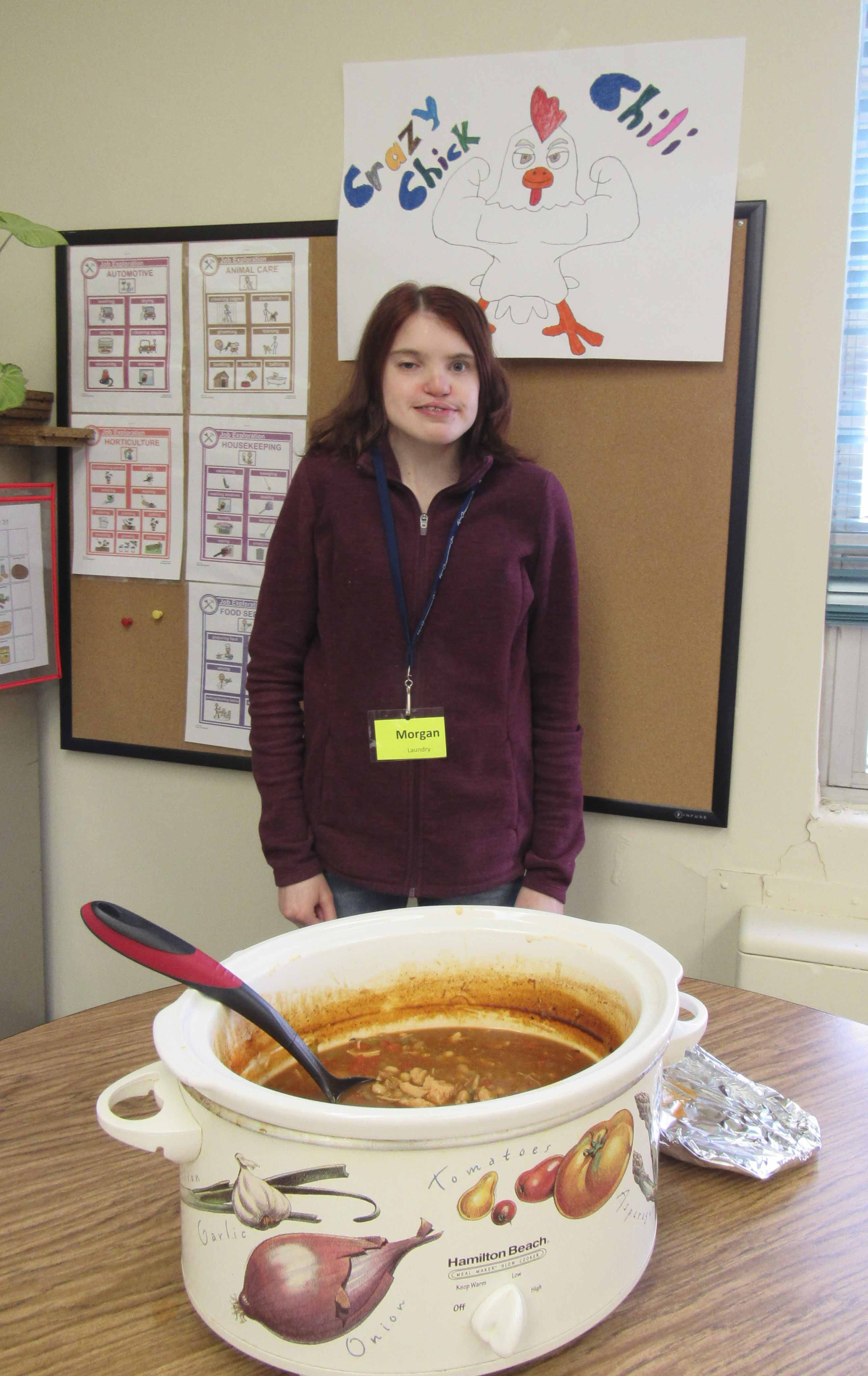 The Monticello Transition Center held its annual Chili Cook-off on April 29. There were three different types of chili available for taste testing. After voting, you were treated to a bowl of your favorite chili. Morgan Ginn won first place with her Crazy Chicken Chili. (Photos by Kim Brooks)