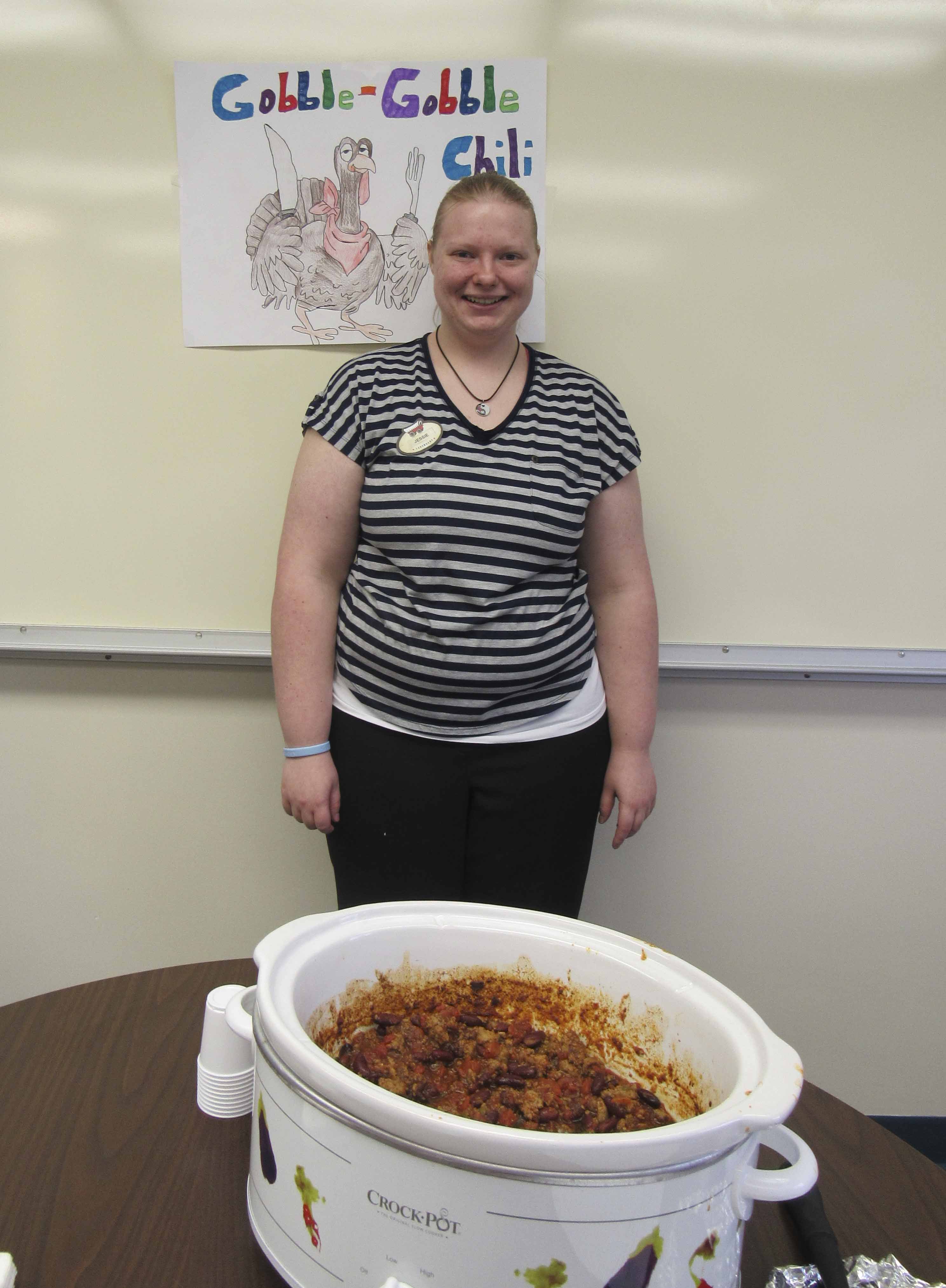 Jessie Hess was second place with her Gobble Gobble (turkey) Chili.