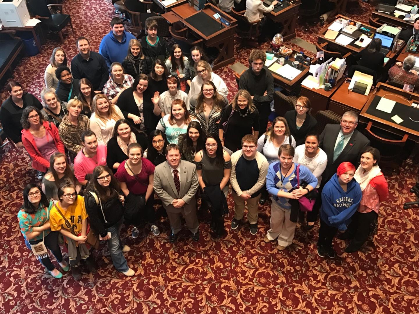 Jones County Safe and Healthy Coalition student advocates are pictured here inside the Capitol with Sen. Tod Bowman and Sen. Dan Zumbach. The group was in Des Moines for Day on the Hill. (Photo submitted)