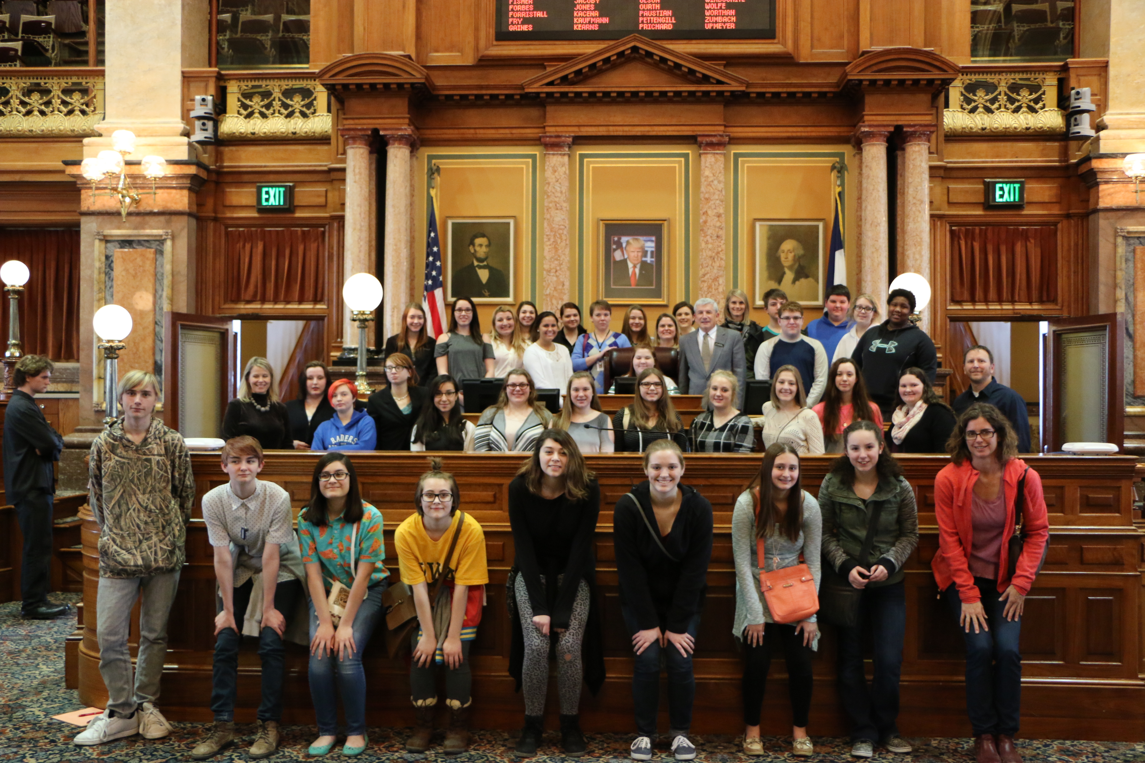 Last week, students from Monticello, Anamosa, and Midland high schools, along with adult chaperones, attended Day on the Hill at the State Capitol in Des Moines. The event centered on substance abuse prevention. The students and adults are pictured here with Rep. Andy McKean. (Photo submitted)