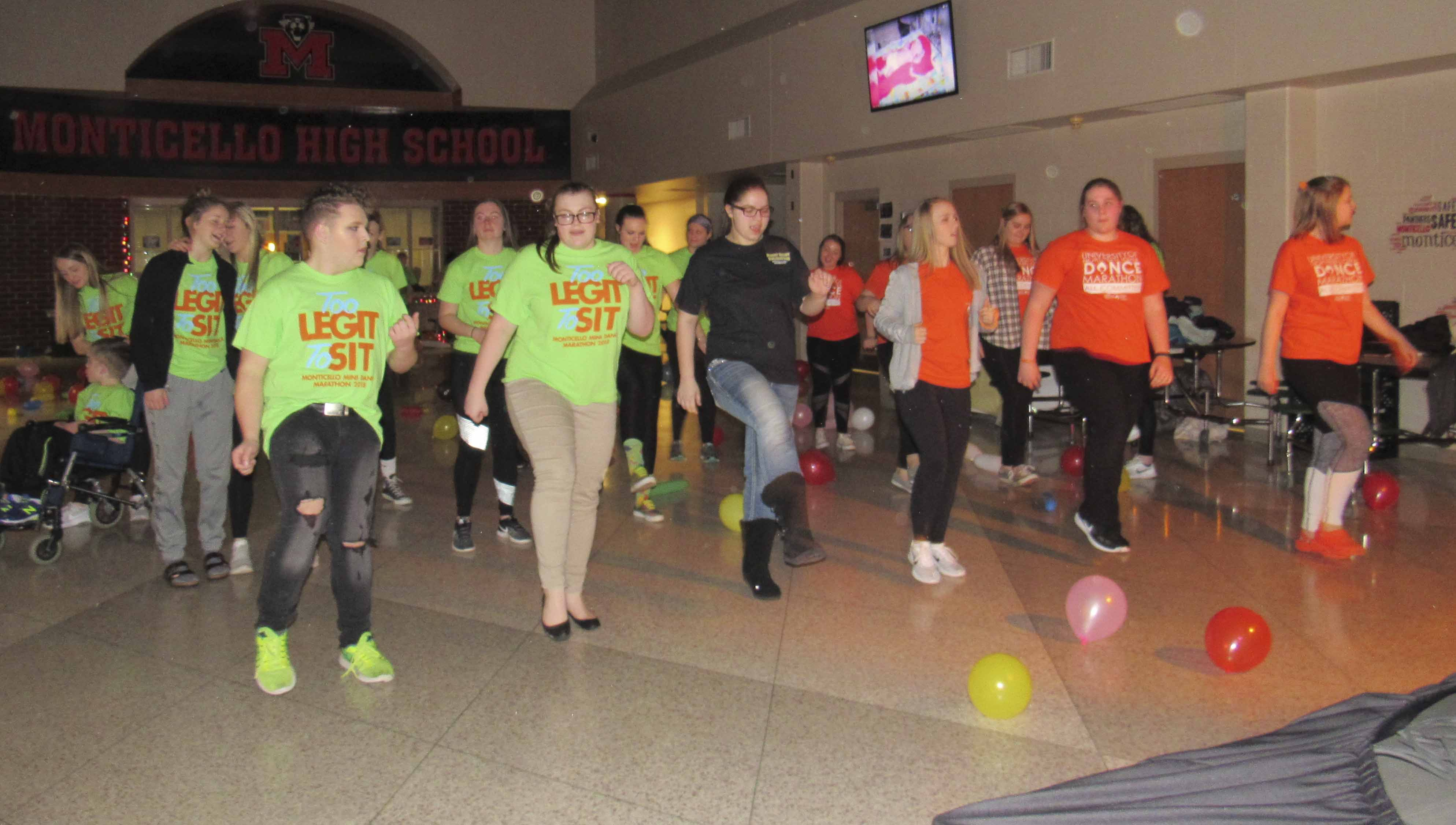 MHS and UNI students shake up the dance floor during the Feb. 24 Dance Marathon.