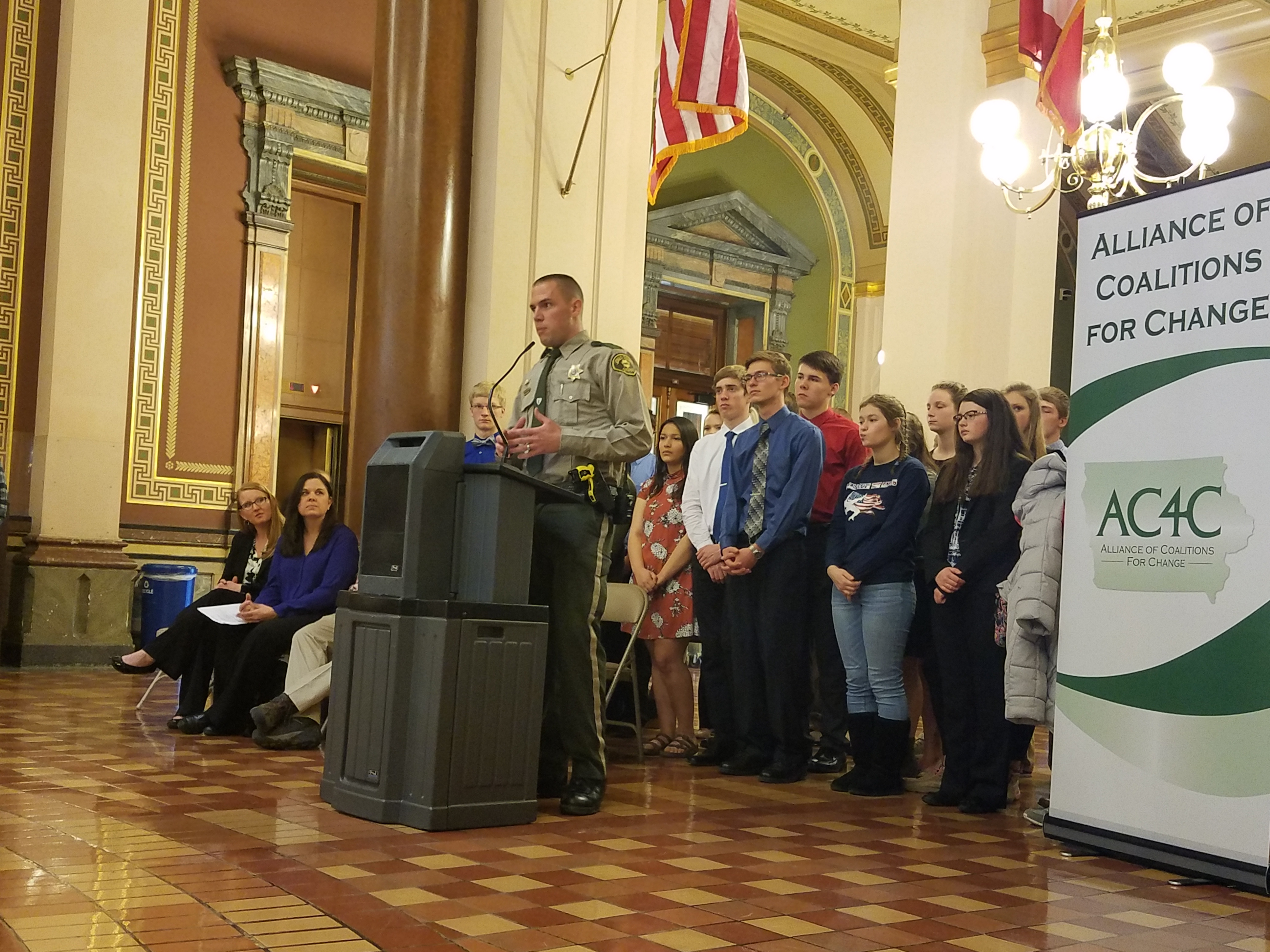 Jones County Sheriff Deputy Tim Smith addresses a crowd during a press conference at the substance abuse prevention Day on the Hill in Des Moines last week. Smith spoke on drugged driving and the numbers of people who get pulled over for OWIs also have other substances in their systems. (Photo submitted)