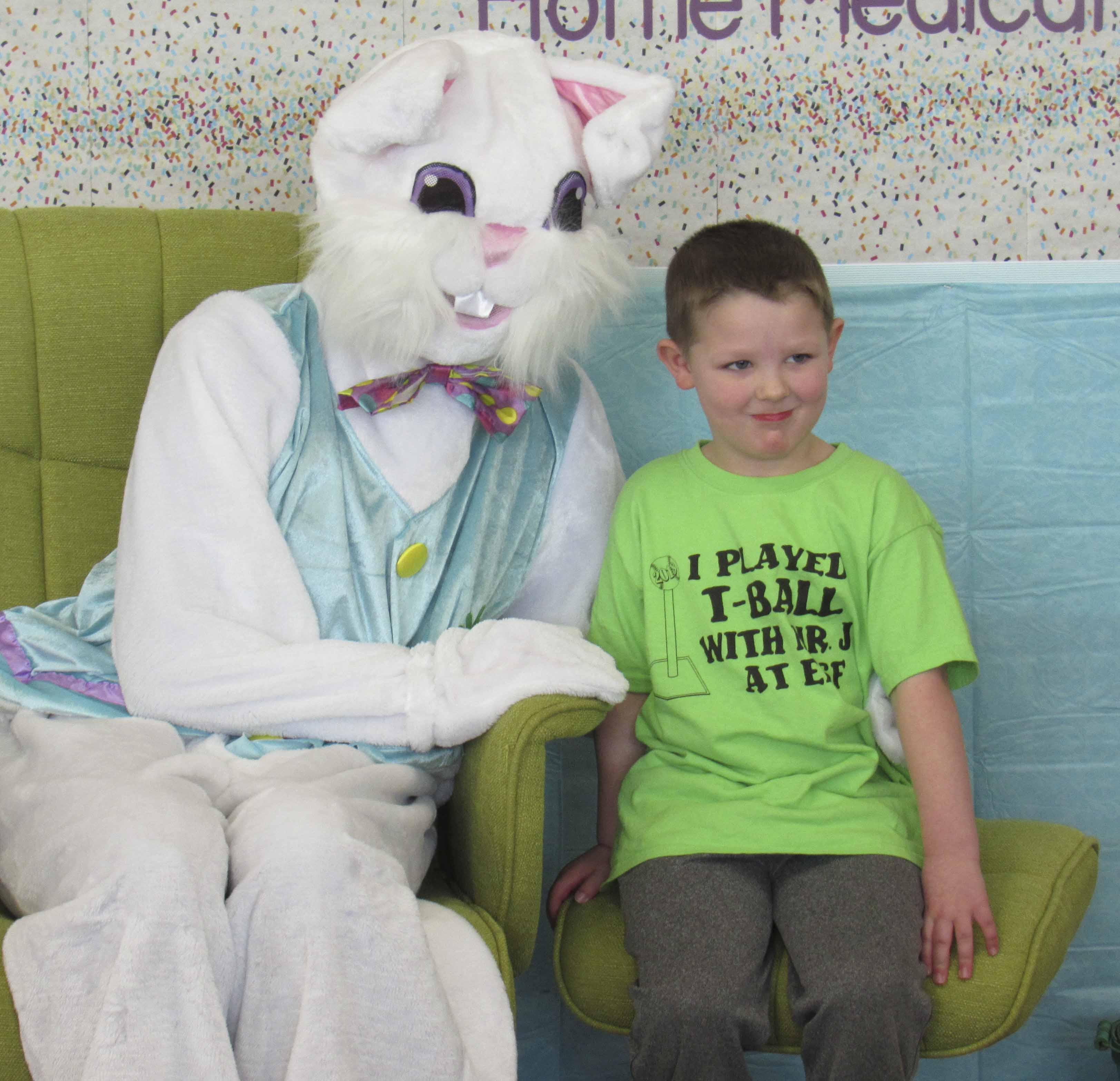 Four-year-old Beckett Dietz, son of Erin and Bob Dietz, enjoyed his visit with the Easter Bunny March 29 at Advantage Home Medical in Monticello. Kids got their picture taken and took home a candy treat. (Photos by Kim Brooks)