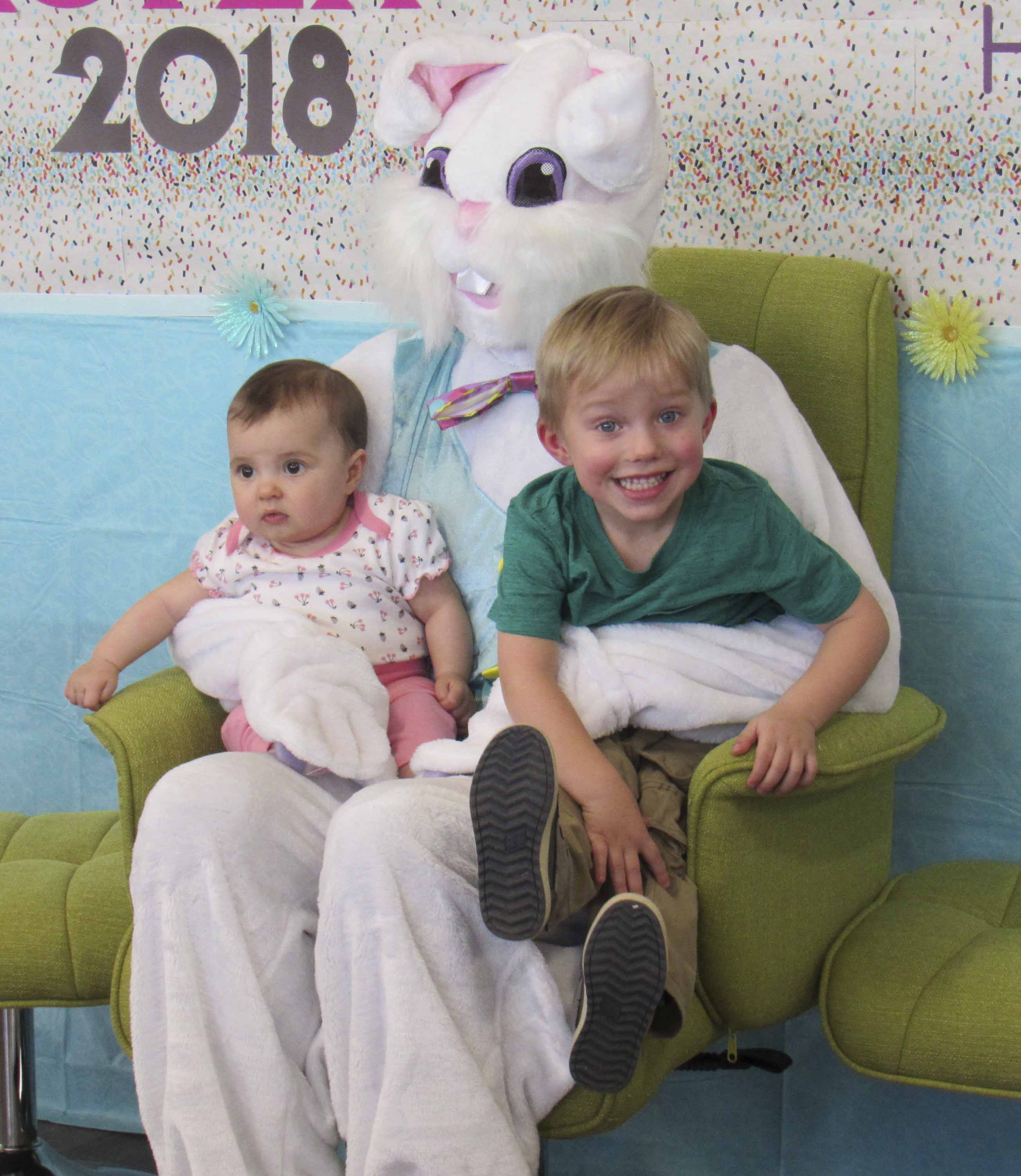 Sister and brother Finley Hunt, 6 months, and Graham Hunt, 3 years old, were excited to see the Easter Bunny last week. Their parents are Kaitlyn and Sam Hunt.