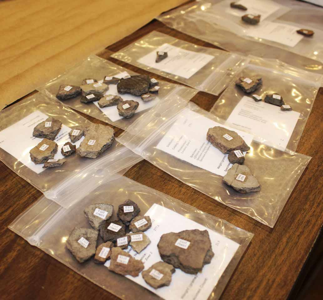A sampling of the hundreds of artifacts that were found at the Eby's Mill Wildlife Area in 2013. On April 4, volunteers helped to label the various pieces. The artifacts were previously cleaned with the aid of more volunteers and identified by the Office of the State Archaeologist research team.