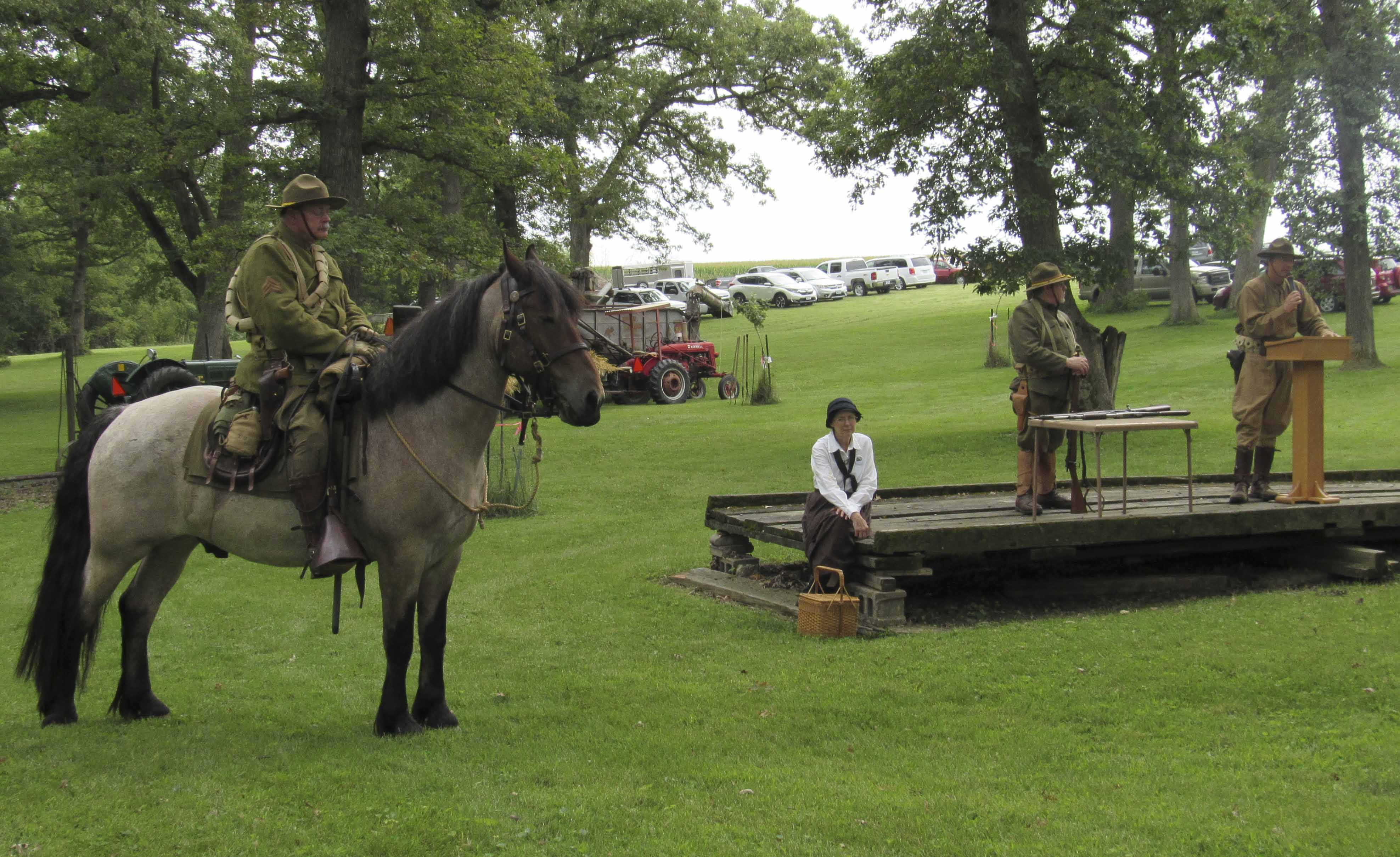 There were several WWI Cavalry Re-enactors on hand at the Edinburgh Festival to talk about the weaponry and equipment used during the war. From left are Ward Brown (on his horse Buddy), Gaile Brown, Steven Platteter, and Brian Pittman. Pittman is the grandson of former Monticello resident Carl Seehusen.