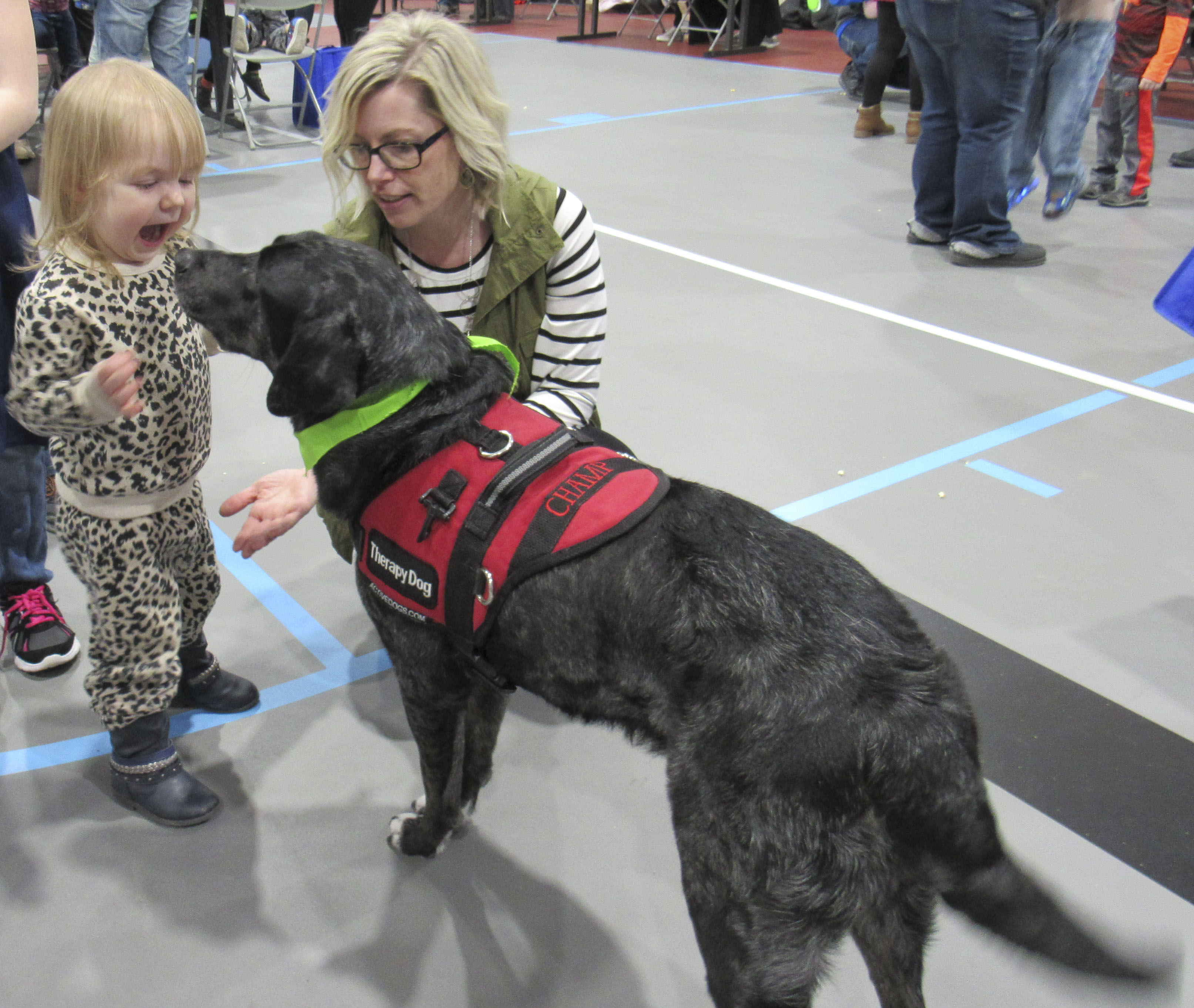 Kota Gatena enjoys meeting Champ the Therapy Dog, along with his owner, Elementary School Counselor Aimee Hospodarsky. Several kids greeted Champ during Family Fun Night at the Berndes Center.