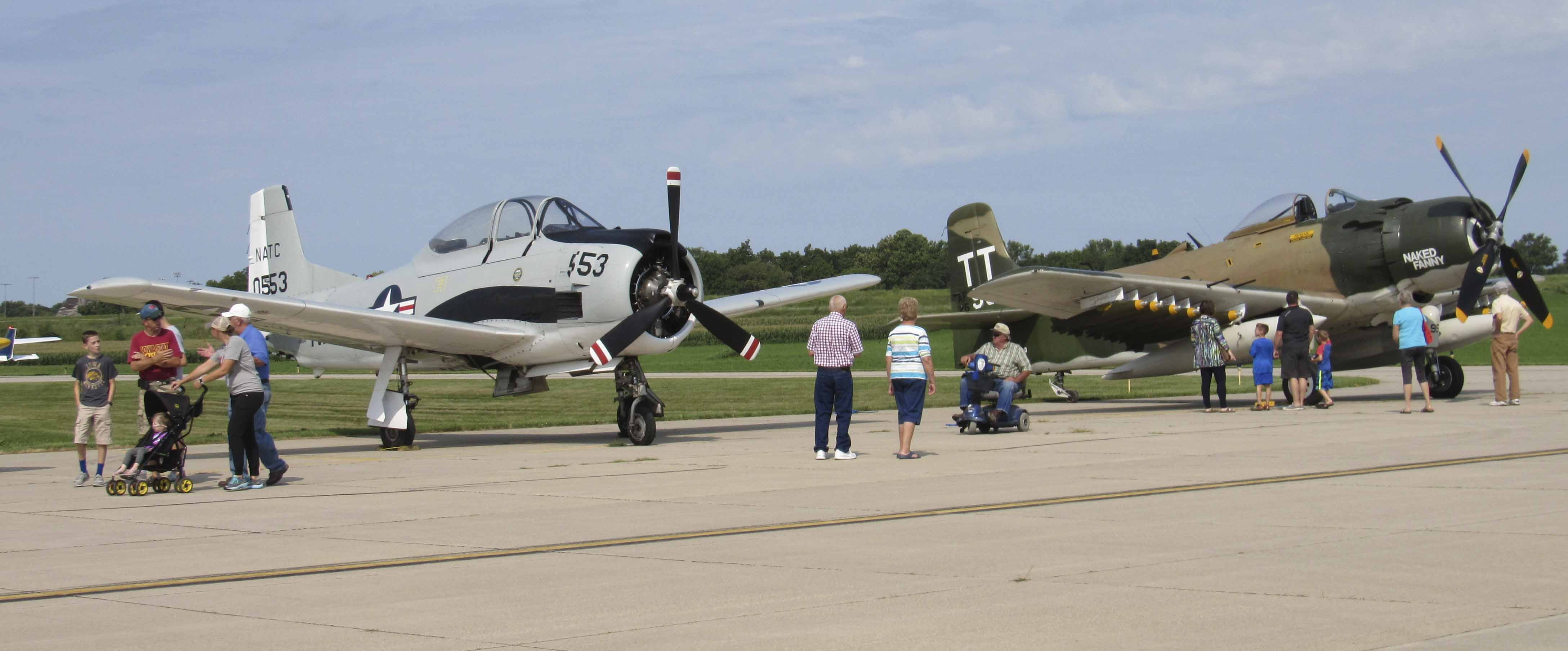 Visitors to the Aug. 6 Fly-in/Drive-in Breakfast at the Monticello Regional Airport enjoyed a close-up look at the warplanes on display on the runway, as well as several other private aircraft.