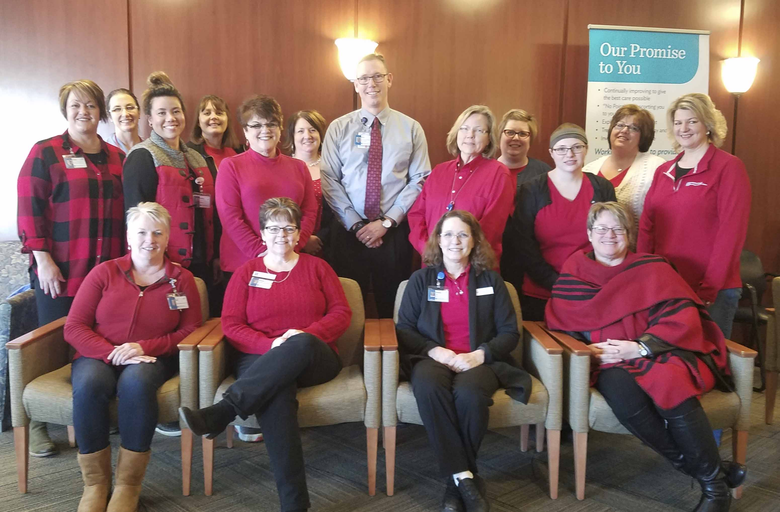 Employees at Jones Regional Medical Center show off their red attire for National Wear Red Day to show support for women's heart disease. (Photo by Kim Brooks)