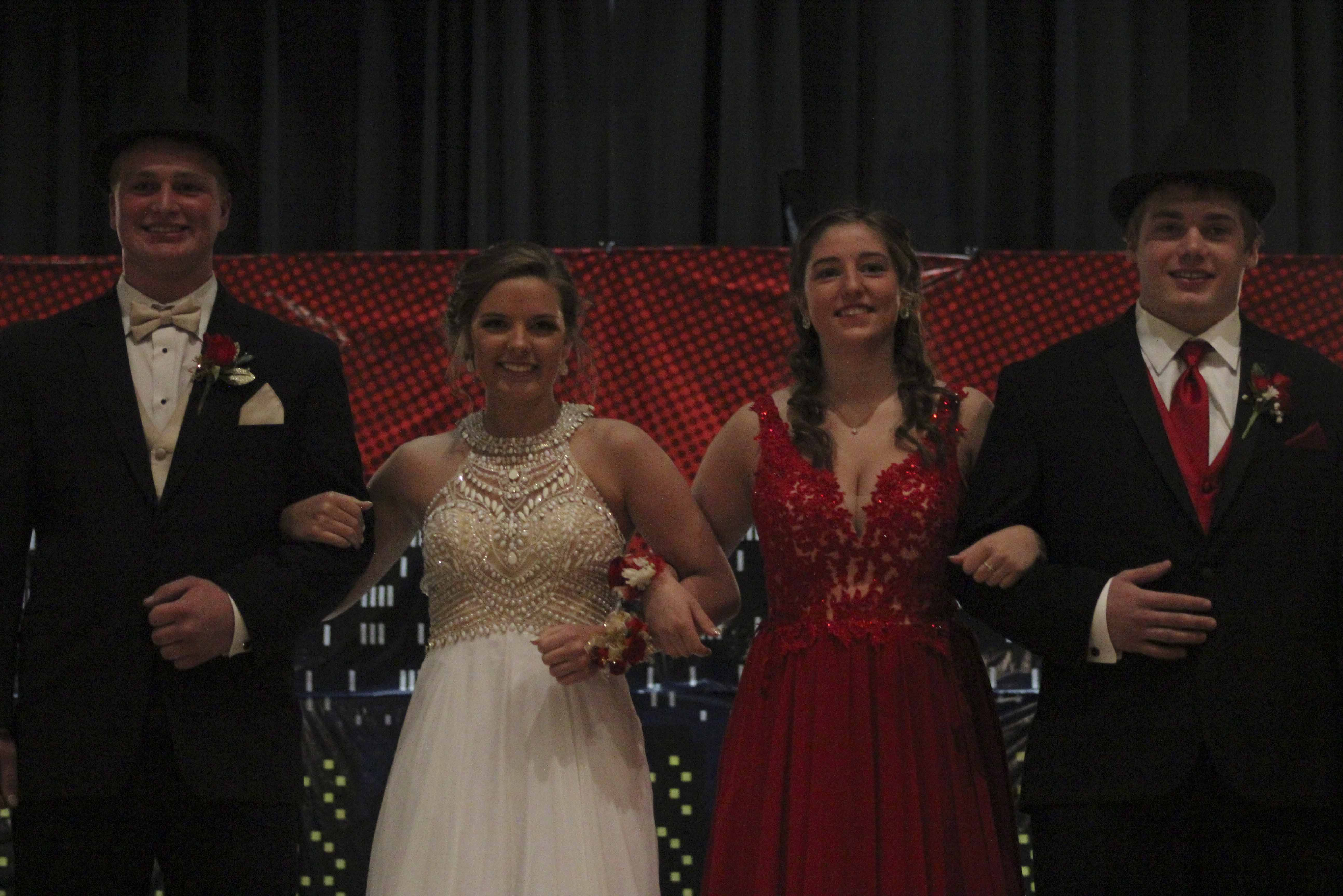 Prom 2018 for Monticello High School was held Saturday, April 21, and began with the Grand March in the MHS Auditorium. Among those taking the stage were, from left: Wade Picray, Lauren Shady, Marissa Recker and Lake Stahlberg. (Photos by Pete Temple)