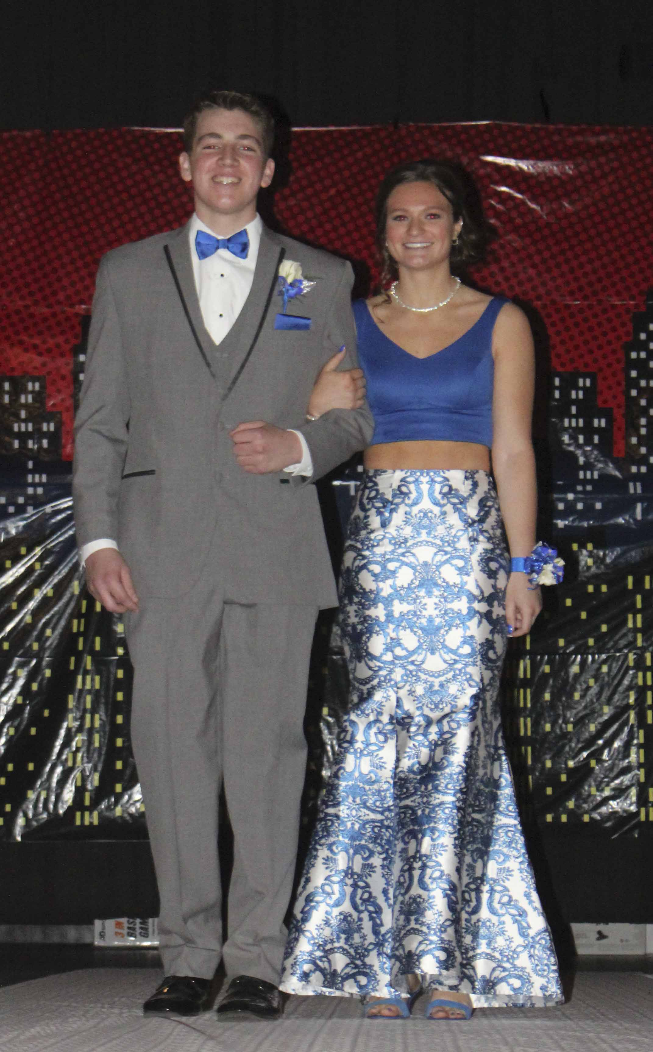 Introduced during the Grand March are Brayden Cleeton (left) and Jaelynn Kraus.