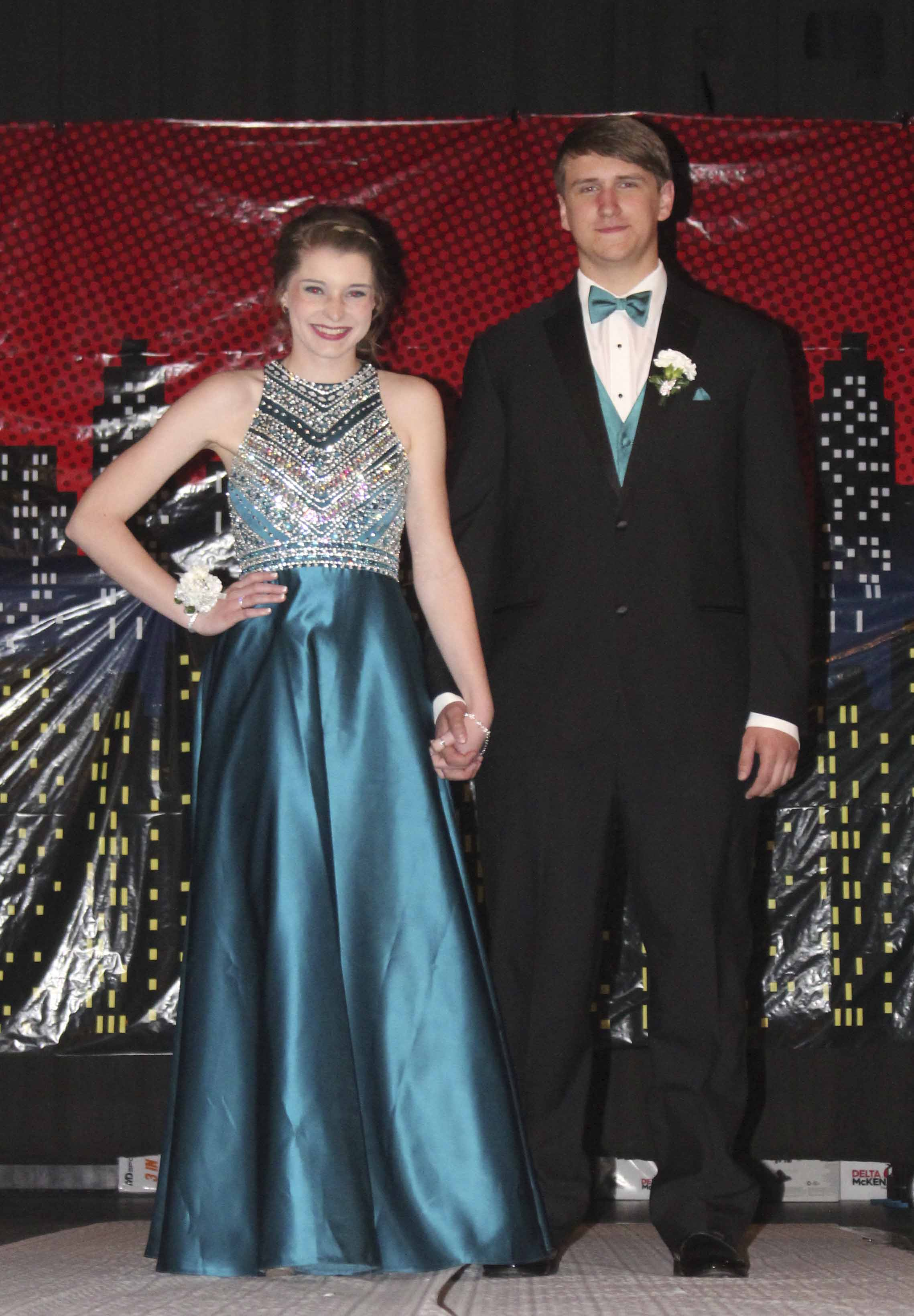 Marissa Braford (left) poses with her date, Jalen Huston.