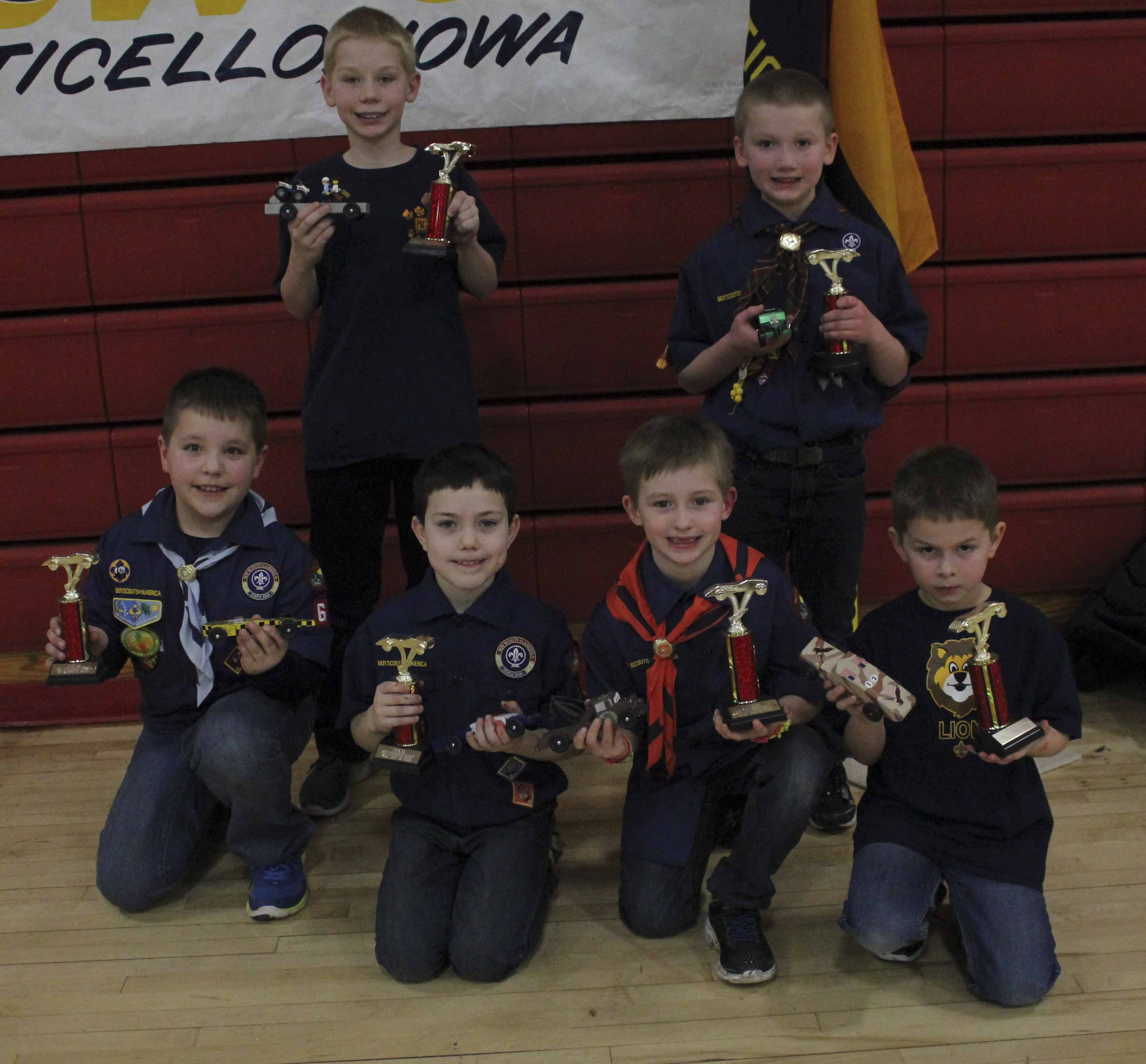 Best of Show winners included, first row from left: Keegan McElmeel, Nicholas Schrader, Branden Sharlow and Noah Fuller. Second row: Carter Martin and Ben Zirkelbach.