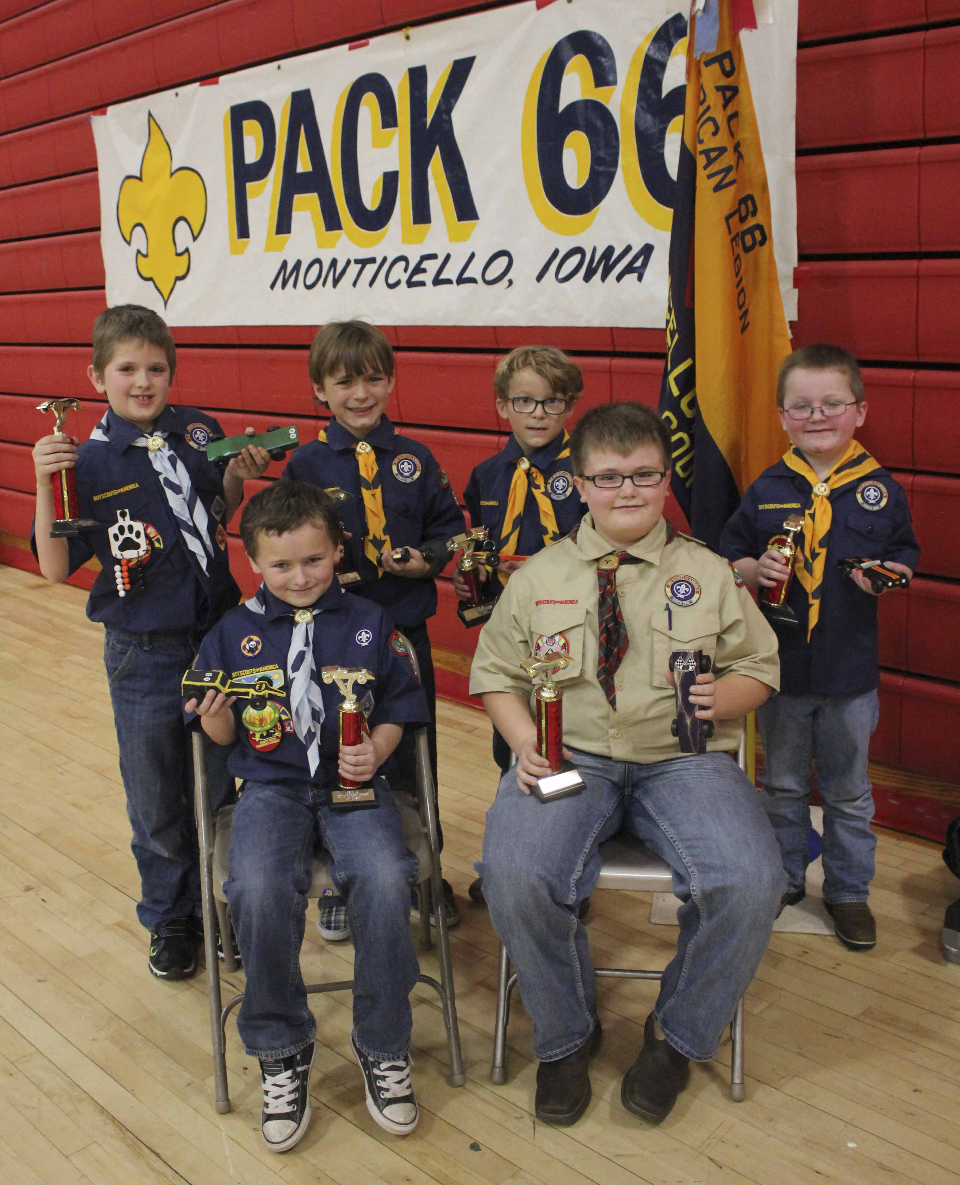 The Pack 66 annual Pinewood Derby was held Saturday, Jan. 21 at Monticello Middle School. Finalists were, first row from left: Brayden Farmer, first place; and Cooper Wickman, second. Second row: Caleb Tubbs, third; Dawson Naylor, fourth; Jaxson Naylor, fifth; and Gage Rickels, sixth. (Photos by Pete Temple)