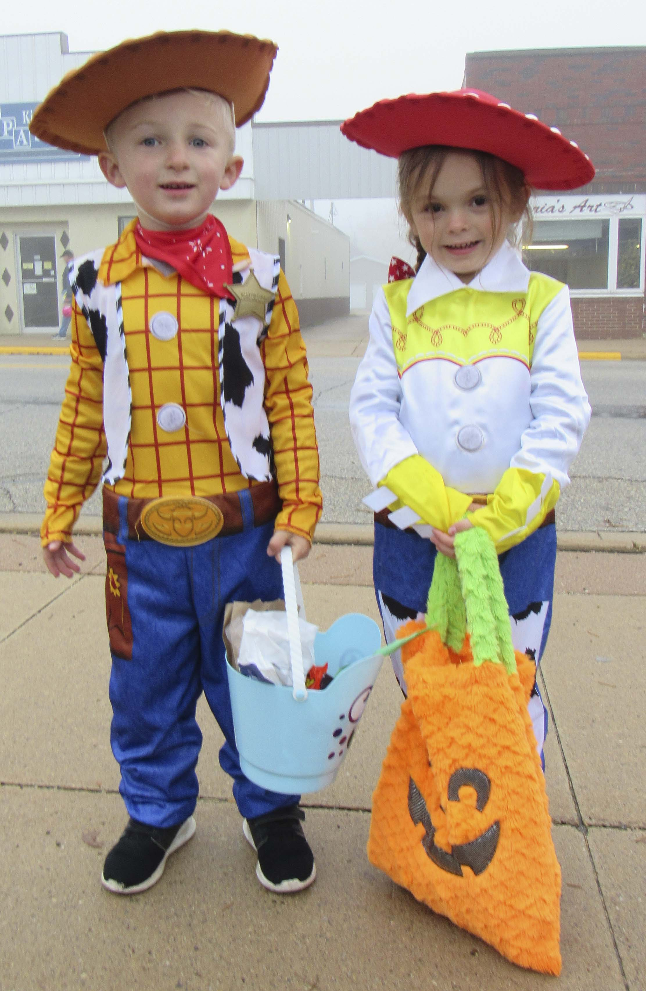 "Owen Faust and Ashtyn Johnson dress as ""Toy Story's"" Woody and Jessie."