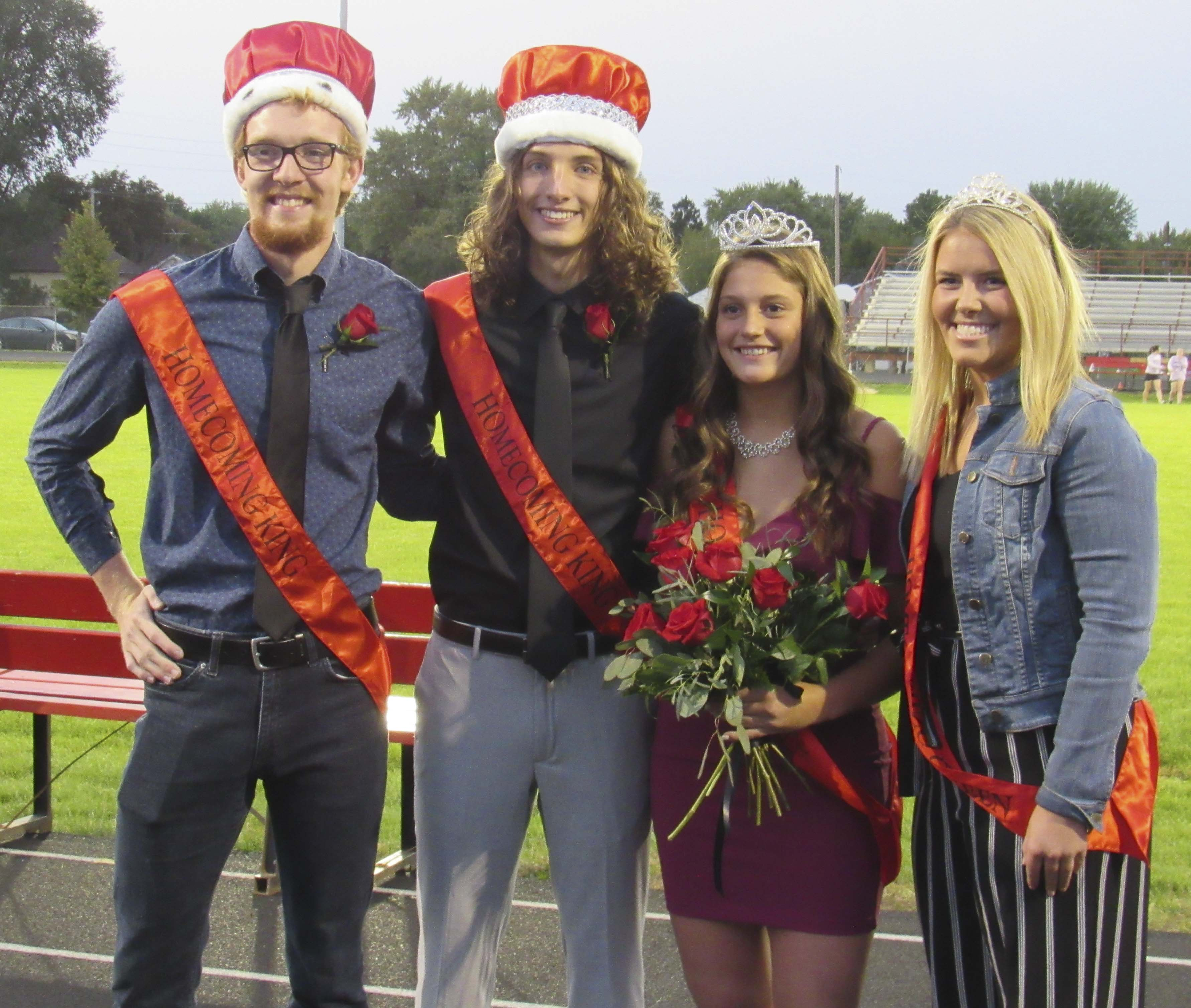 Monticello Homecoming kings and queens from the past two years, from left: Carter Cruise, 2019 king; Caden Ungs, 2020 king; DeLainy Fellinger, 2020 queen; and Lizzie Petersen, 2019 queen.