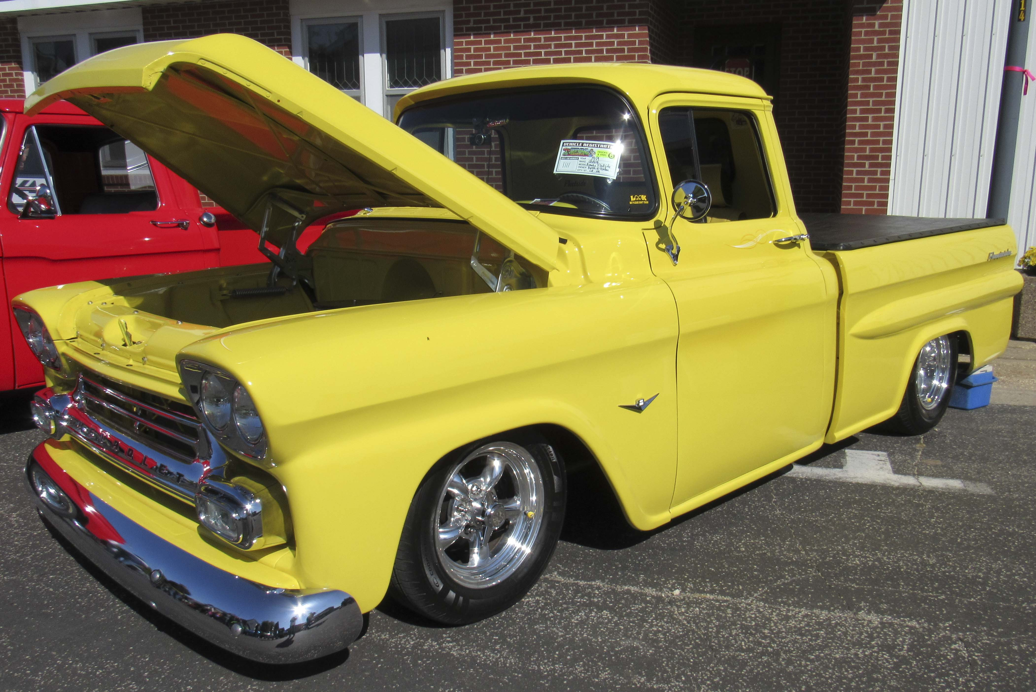 There were lots of classic trucks to see at the Hopkinton car show on Oct. 4, including this 1959 Chevy Apache Fleetside owned by Keith McKeeban of Cedar Rapids. (Photos by Kim Brooks)