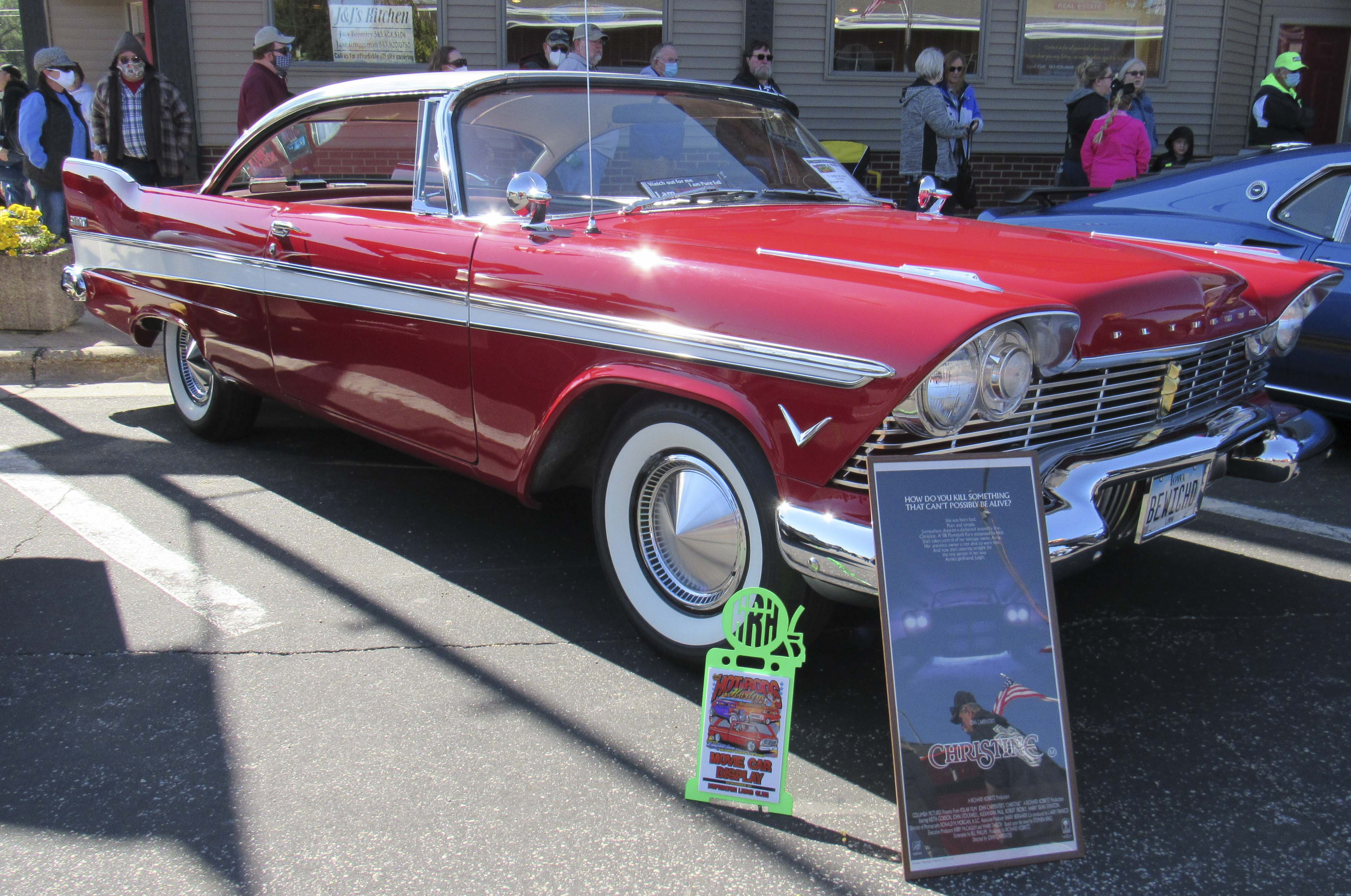 """Hopkinton was the place to be on Sunday, Oct. 4, for Hot Rods & Harleys Car Show. The annual event featured vehicles from classic TV shows and movies, including the car from the movie """"Christine."""" This 1957 Plymouth Belvedere is owned by Marvin Hansen of Cedar Rapids."""