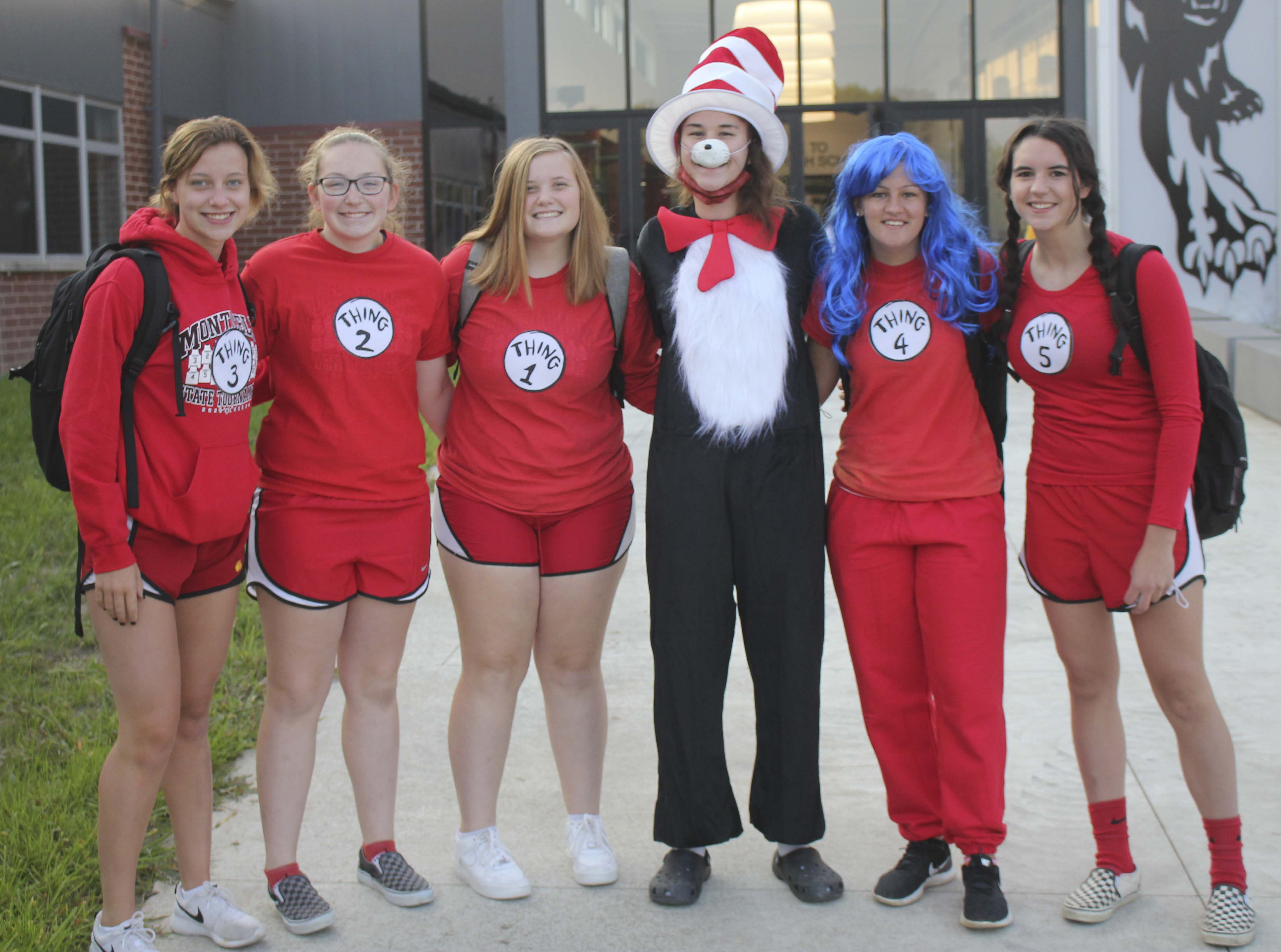 """Dressing as """"The Cat in the Hat"""" characters for Character Day, from left: Reese Cox, Kacie Rickels, Hannah Ahlrichs, Megan Mahoney, Brooklyn Stark and Hailey Wilson."""