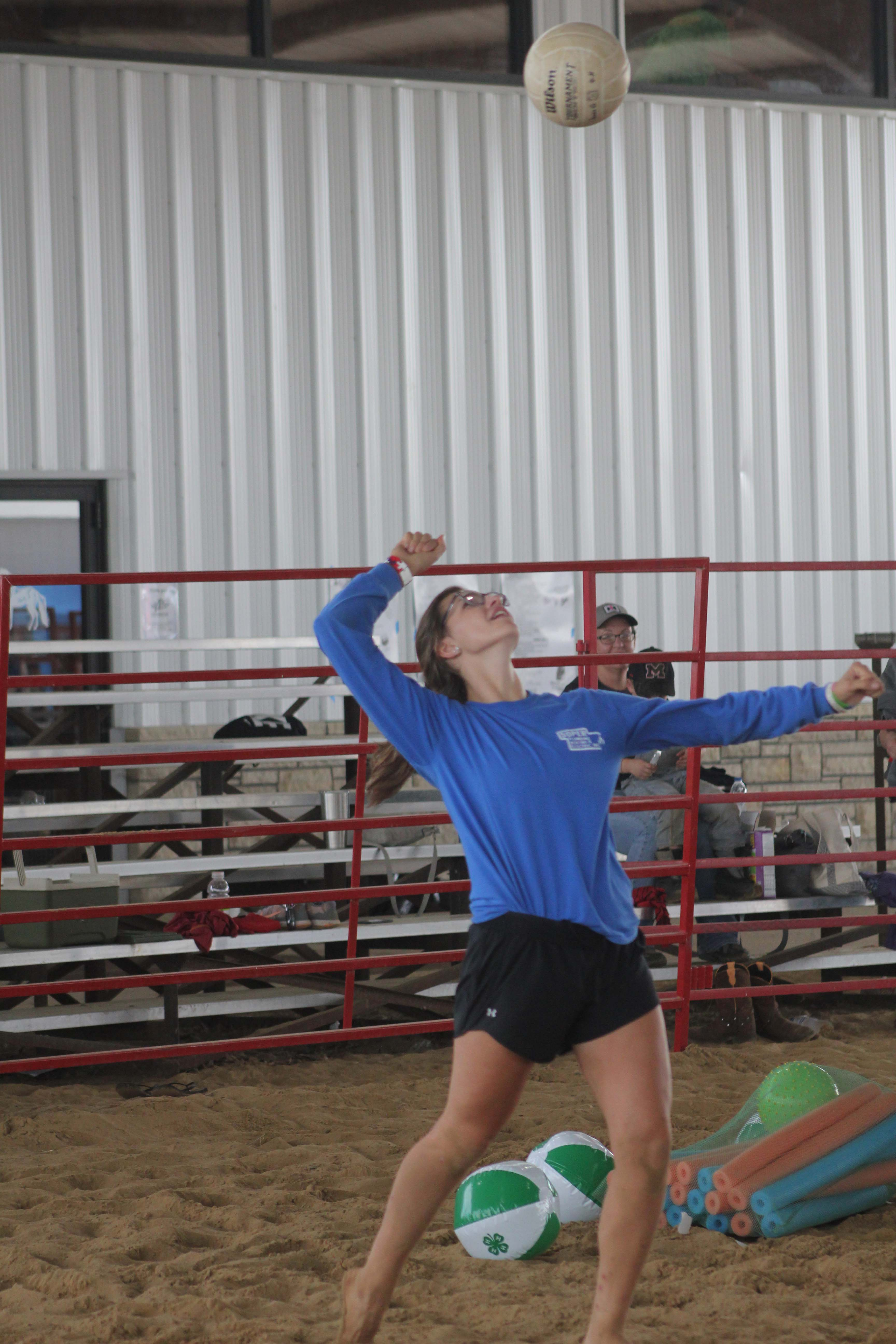 Lilly Trumm of Cascade offers up a serve during the 4-H and Friends Volleyball Tournament Friday the Equestrian Center.