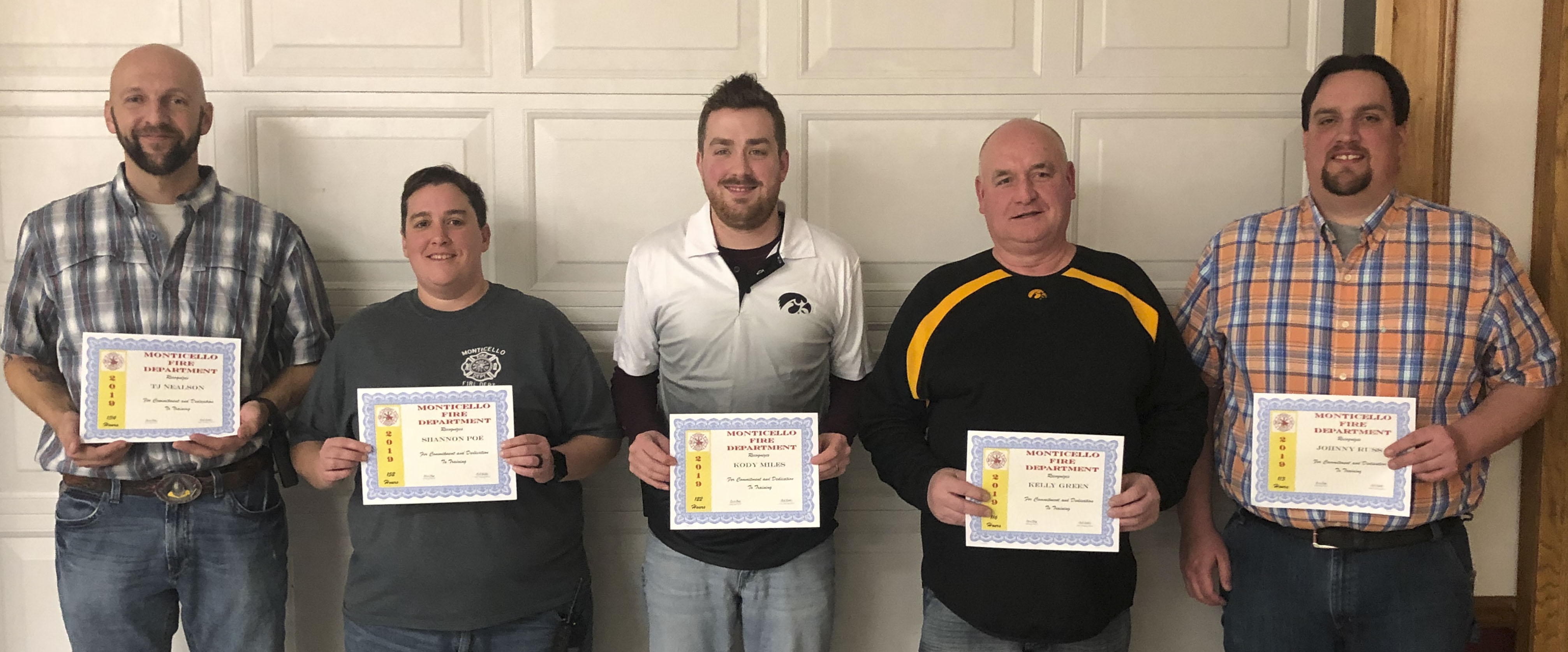 Receiving awards for clocking the most training hours were, from left, TJ Nealson, Shannon Poe, Kody Miles, Kelly Green, and Johnny Russ. (Photos by Mark Spensley)