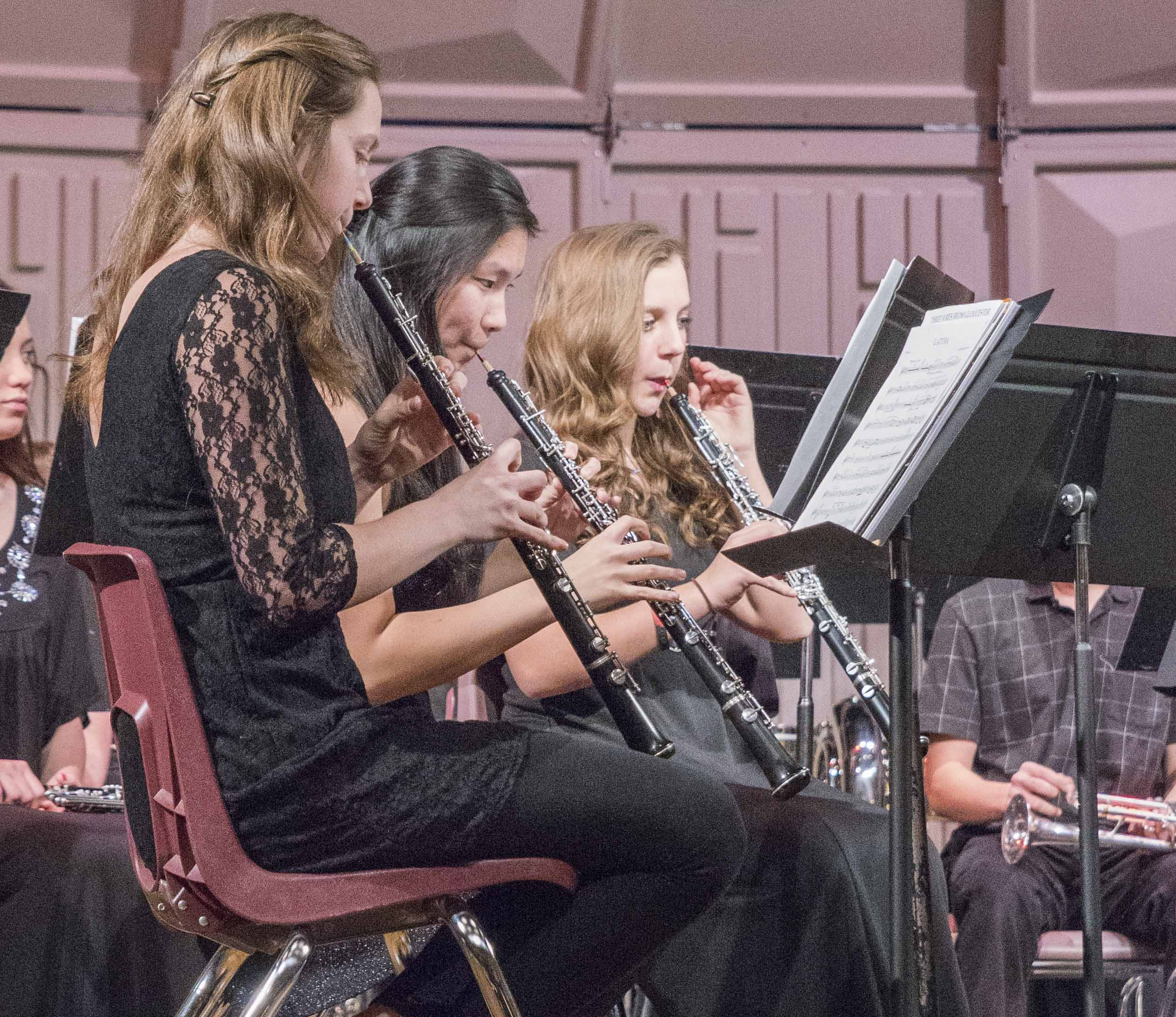 The MHS Band held its Holiday Concert on Dec. 20. Seen here are oboe players Rileigh Lambert, Clara Finger and Micah Williams. (Photos courtesy of Dianna Rucker, Rucker Photography)