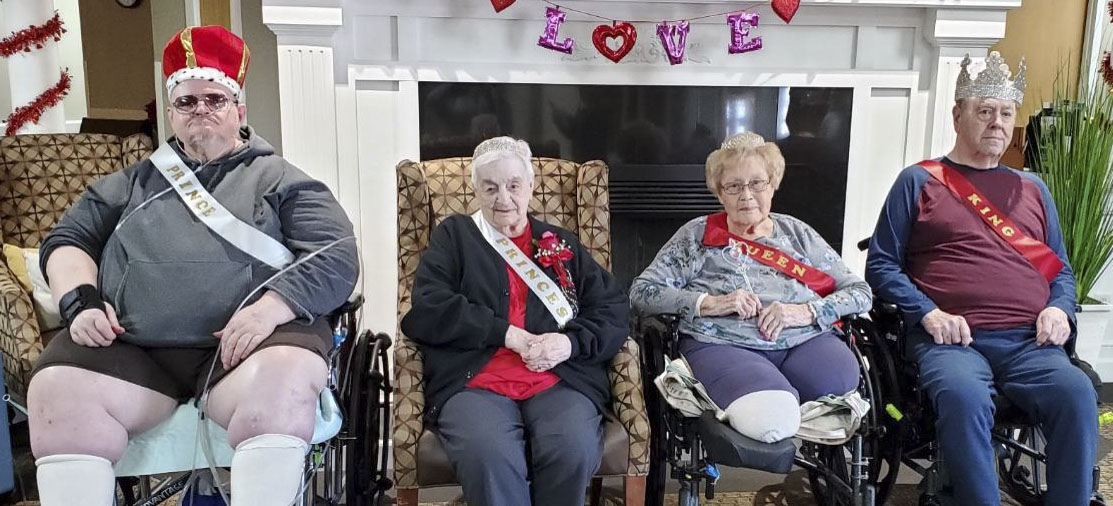 MNRC crowned their Valentine's Day royalty on Feb. 14. From left are Prince Milo Brokaw, Princess Rita Chapman, Queen Doloris Eganhouse, and King Larry Larson. (Photo by Kim Brooks)