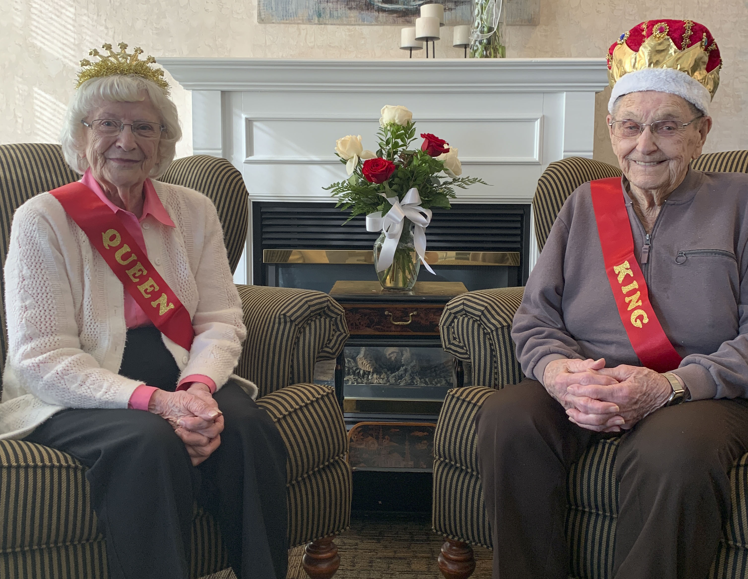 Pennington Square Assisted Living got in the Valentine's Day spirit crowning their own royalty. Queen and King were Lorraine Haag and Allen Poppe. (Photos submitted)