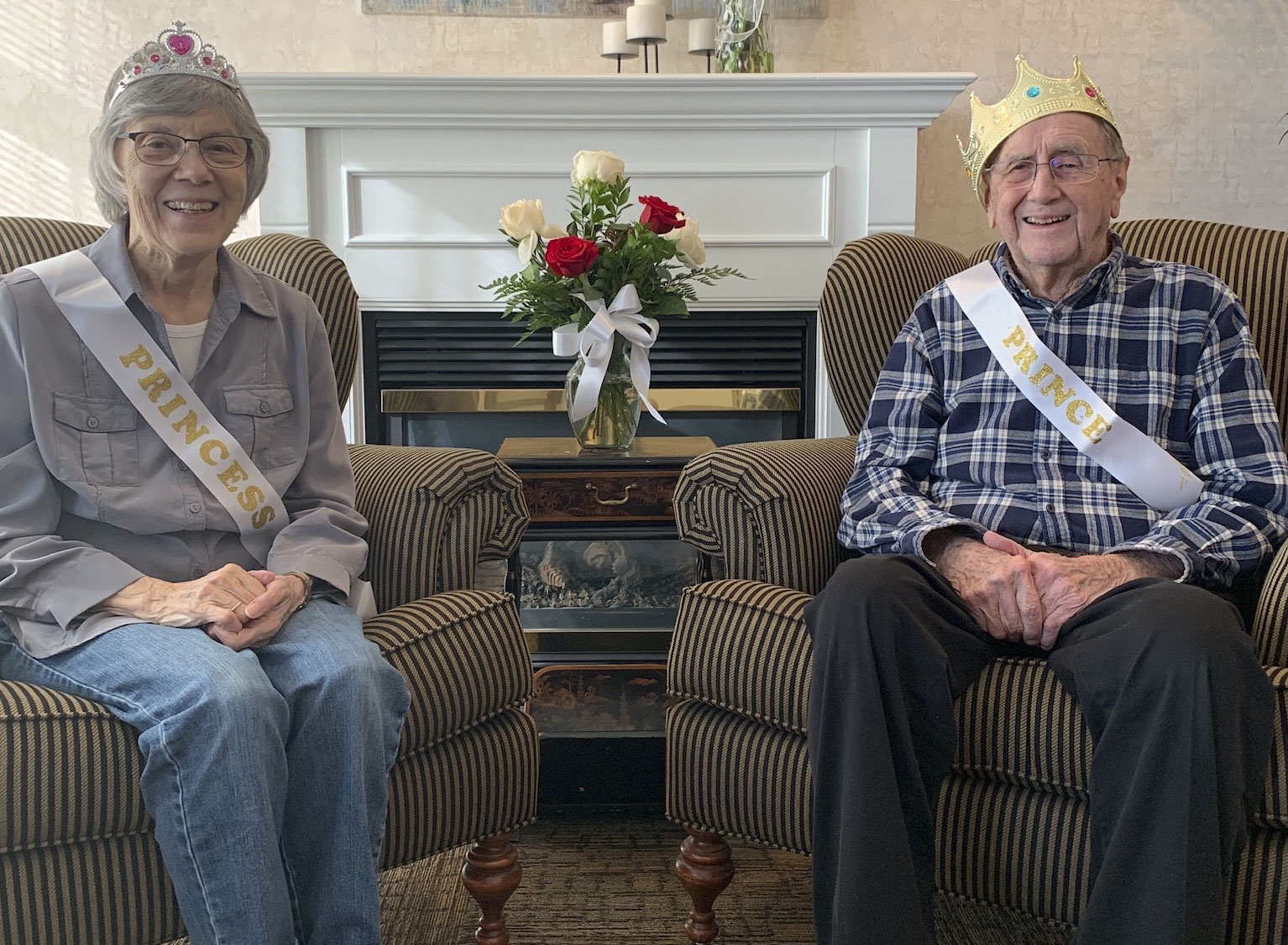 Husband and wife duo Betty and Armin (Jake) Jacobs were crowned princess and prince for Valentine's Day at Pennington Square.