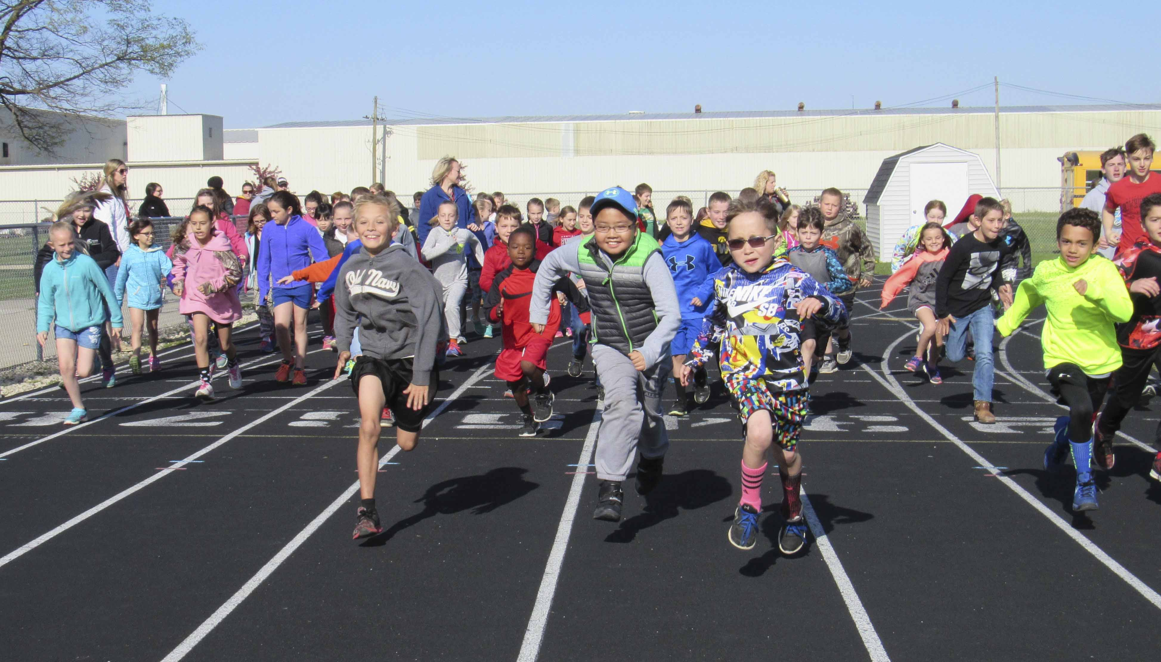 Third graders from Carpenter Elementary School take off on the track to kickoff the Monticello PTO Walk-a-thon on May 4. The event helps to encourage kids to live a healthy lifestyle. The walk-a-thon was held for grades pre-school through fourth. (Photos by Kim Brooks)