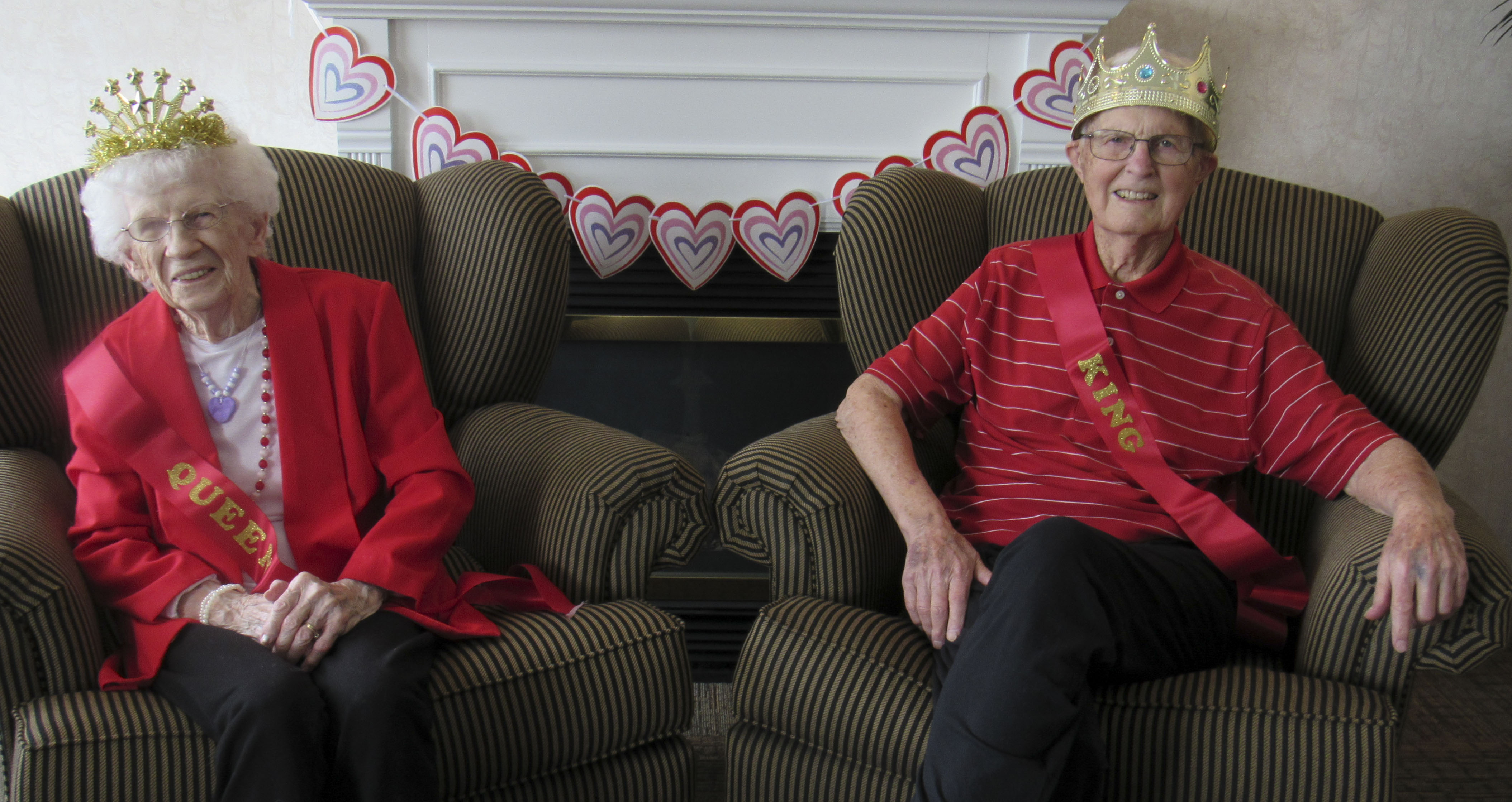 Pennington Square Assisted Living crowned its Valentine's Day King and Queen. From left are Freda Lawrence and Ken Weber. (Photos by Kim Brooks)
