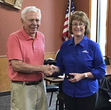 Monticello Rotary Club President Audrey Savage is awarded a Paul Harris Award, times three, by Foundation Chair Steve Williams. The award honors Savage's contributions to Rotary, meaning that she has donated at least $3,000 to the Rotary International Foundation. (Photos submitted)