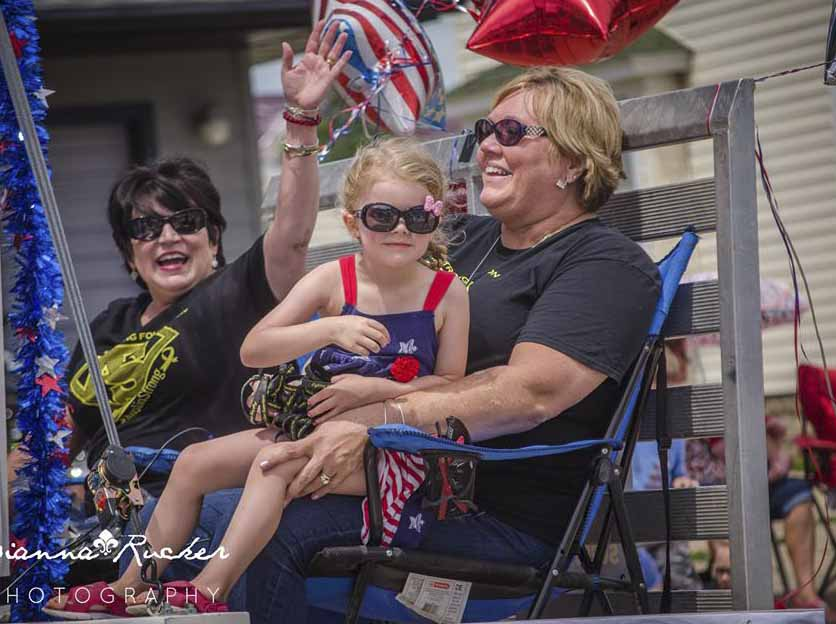 The Austin Strong Foundation placed second in the Monticello July 4 parade. Seated are Austin Smith's grandmothers Annette Smith and Kris Weers, holding Kennedi McNally. (Photo courtesy od Dianne Rucker)