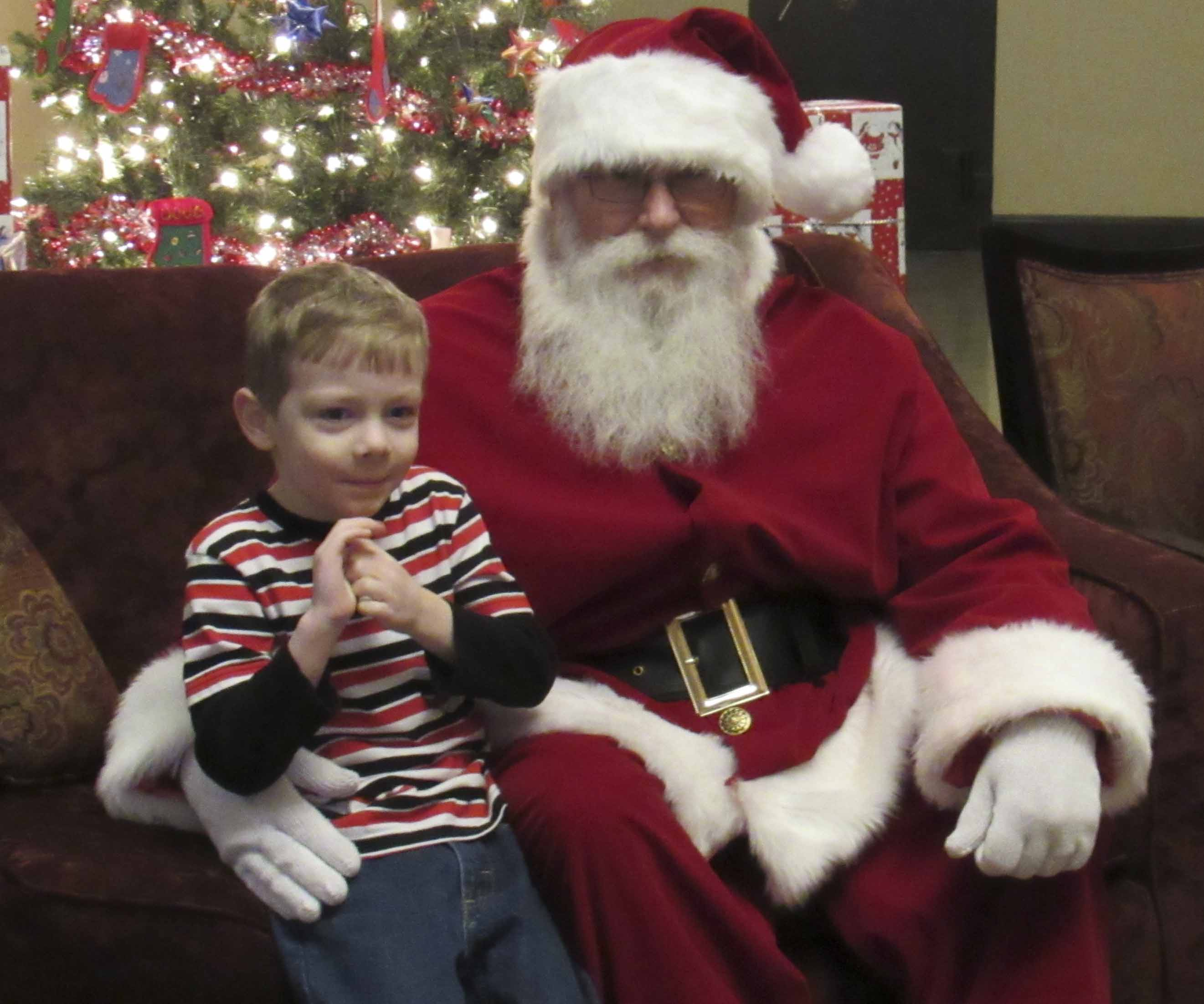 Austin Grant was excited to see Santa Saturday. The two spent much time talking about what Austin wants for Christmas, as well as what Austin's mom wanted for Christmas.