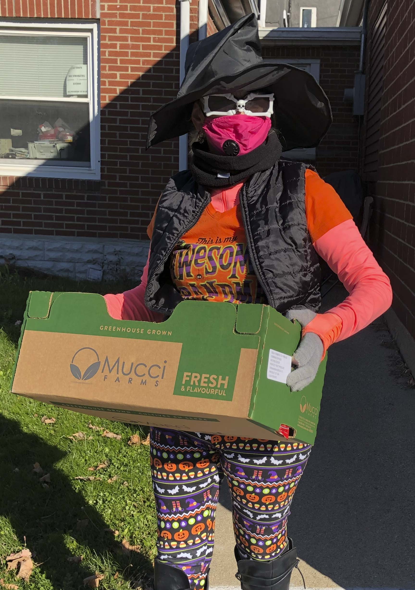 Monticello Senior Dining Site Manager Regina Engelbart was seen decked out in her Halloween and PPE best as she delivered meals to senior citizens' homes on Oct. 30. The boxes of food were put together by members of the Anamosa FFA. (Photo by Mark Spensley)