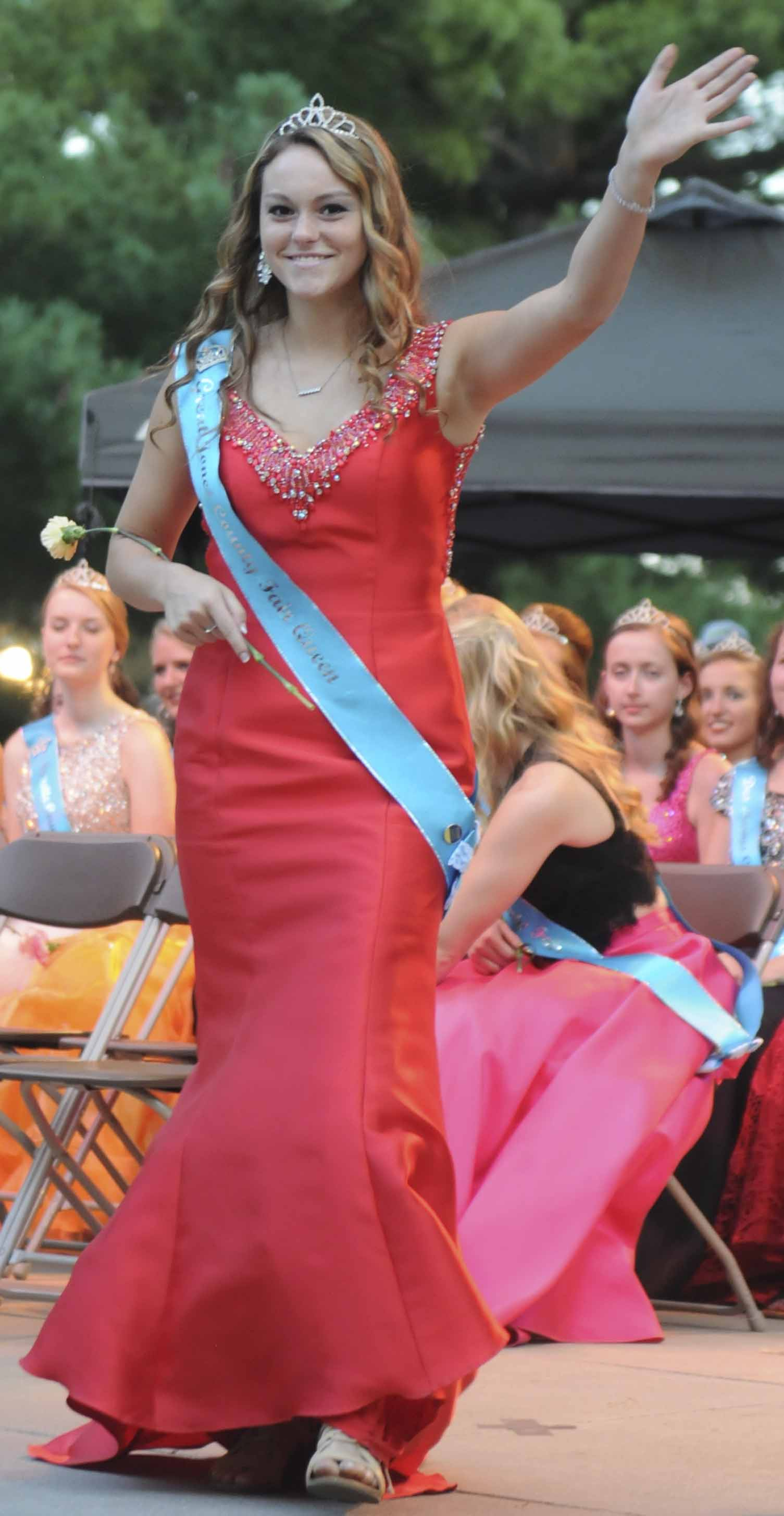 Great Jones County Fair Queen Shay Stephen, 18, of Monticello, participates in the 2017 Iowa State Fair Queen Coronation Ceremony on Aug. 12. (Iowa State Fair/ Steve Pope Photography)