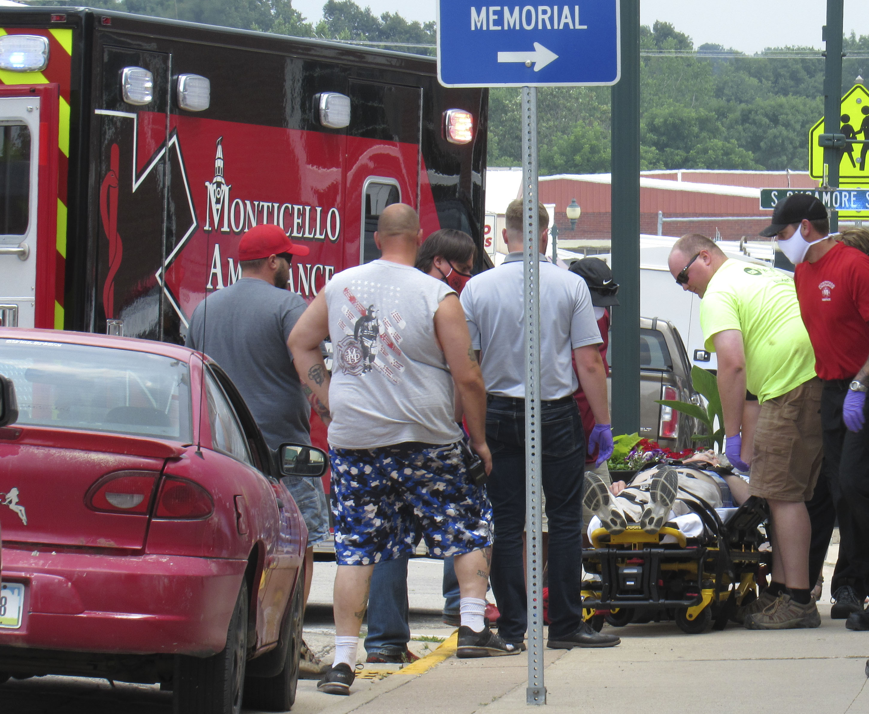 On July 7, the Monticello Ambulance and Fire Departments were called to Superior Appliance on the corner of E. First Street and S. Sycamore Street for a report of an older male who passed out on the sidewalk. (Photo by Kim Brooks)