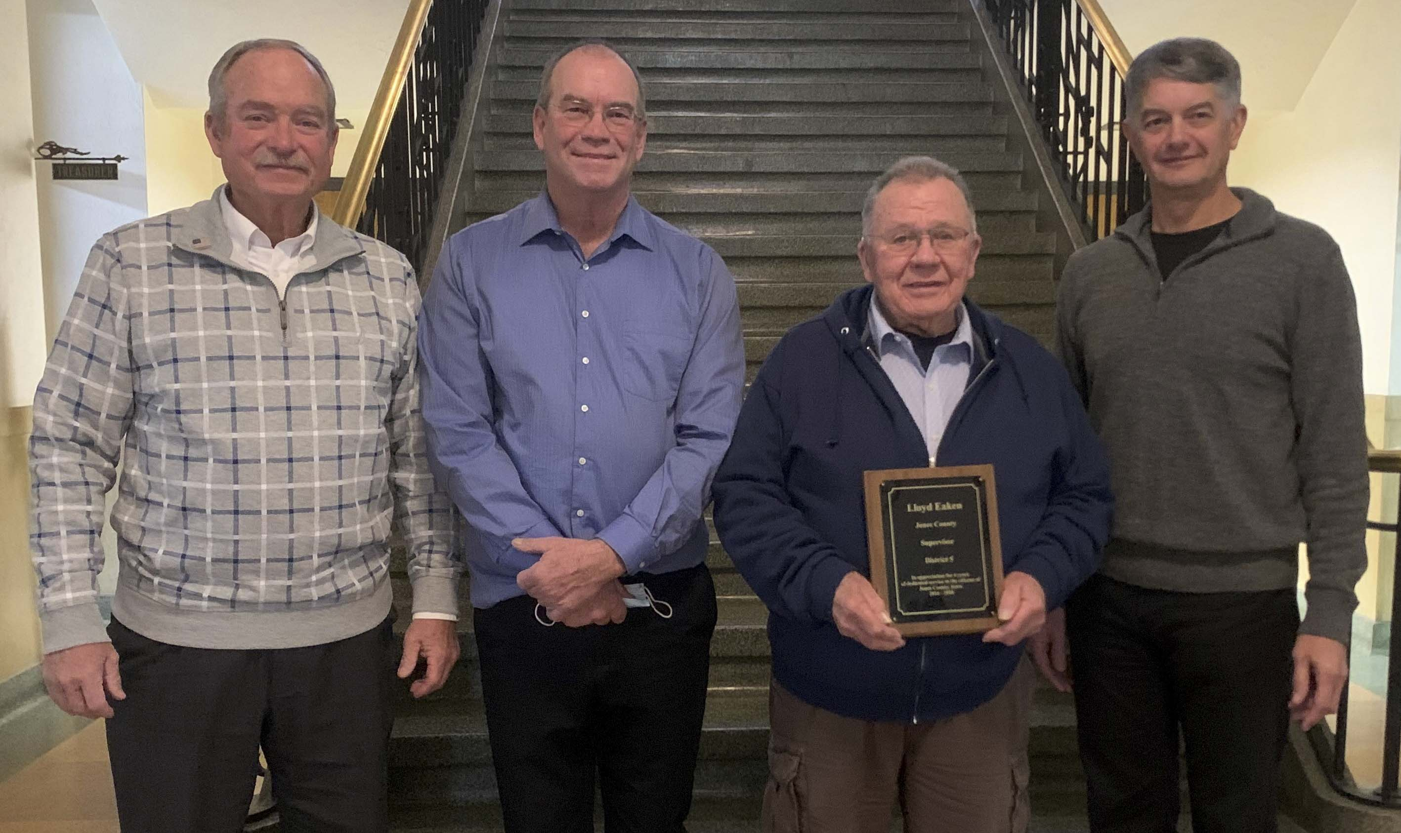 Last week following their last board meeting of 2020 on Dec. 29, the Jones County Supervisors presented out-going supervisors Lloyd Eaken and Wayne Manternach with plaques of appreciation for their years of service. From left are Ned Rohwedder, Jon Zirkelbach, Eaken, and Joe Oswald. Manternach was absent. (Photo submitted)