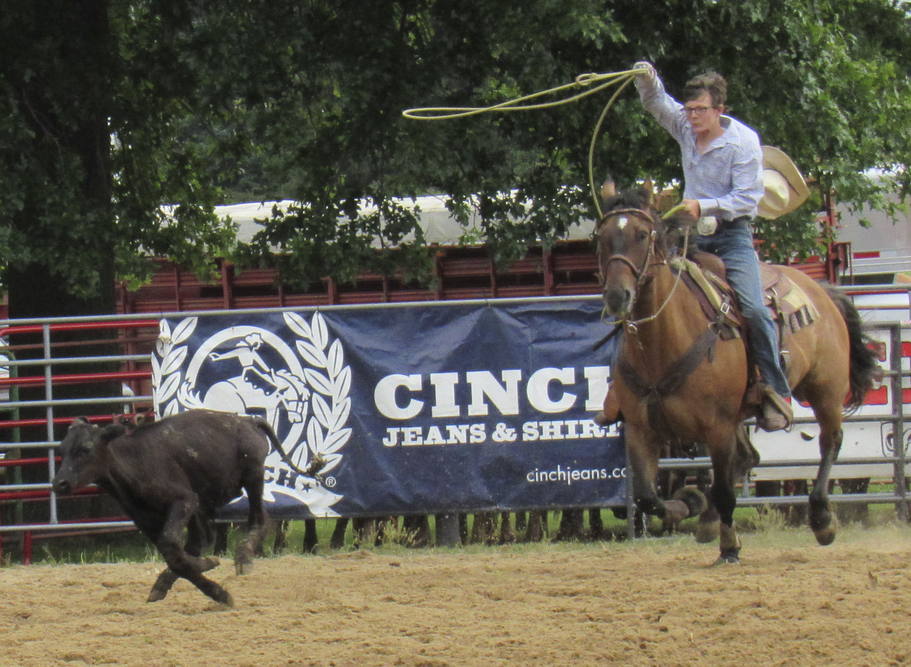 Cord Nietert gets ready to wrangle a calf while taking part in the roping competition at the 86th Annual Wyoming Fair.