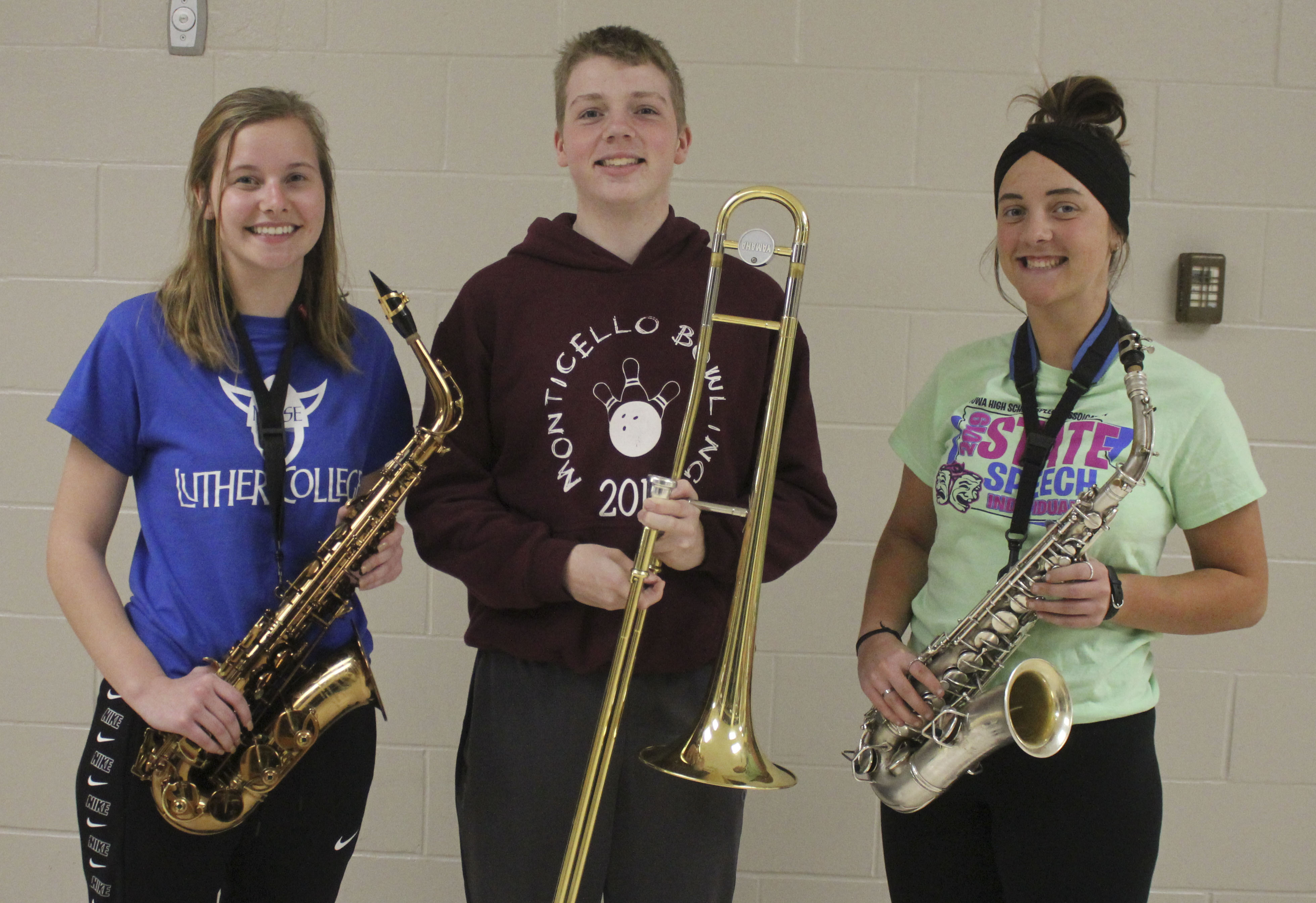 Three Monticello High School students were selected for the All-State Jazz Band. From left are senior Sophia Ahlrichs, tenor sax 2; sophomore Levi Temple, trombone 2; and junior Micah Williams, alternate alto sax. The All-State Band will perform a concert May 9 as part of the Iowa Bandmasters Associa- tion Conference in Des Moines. (Photo by Pete Temple)