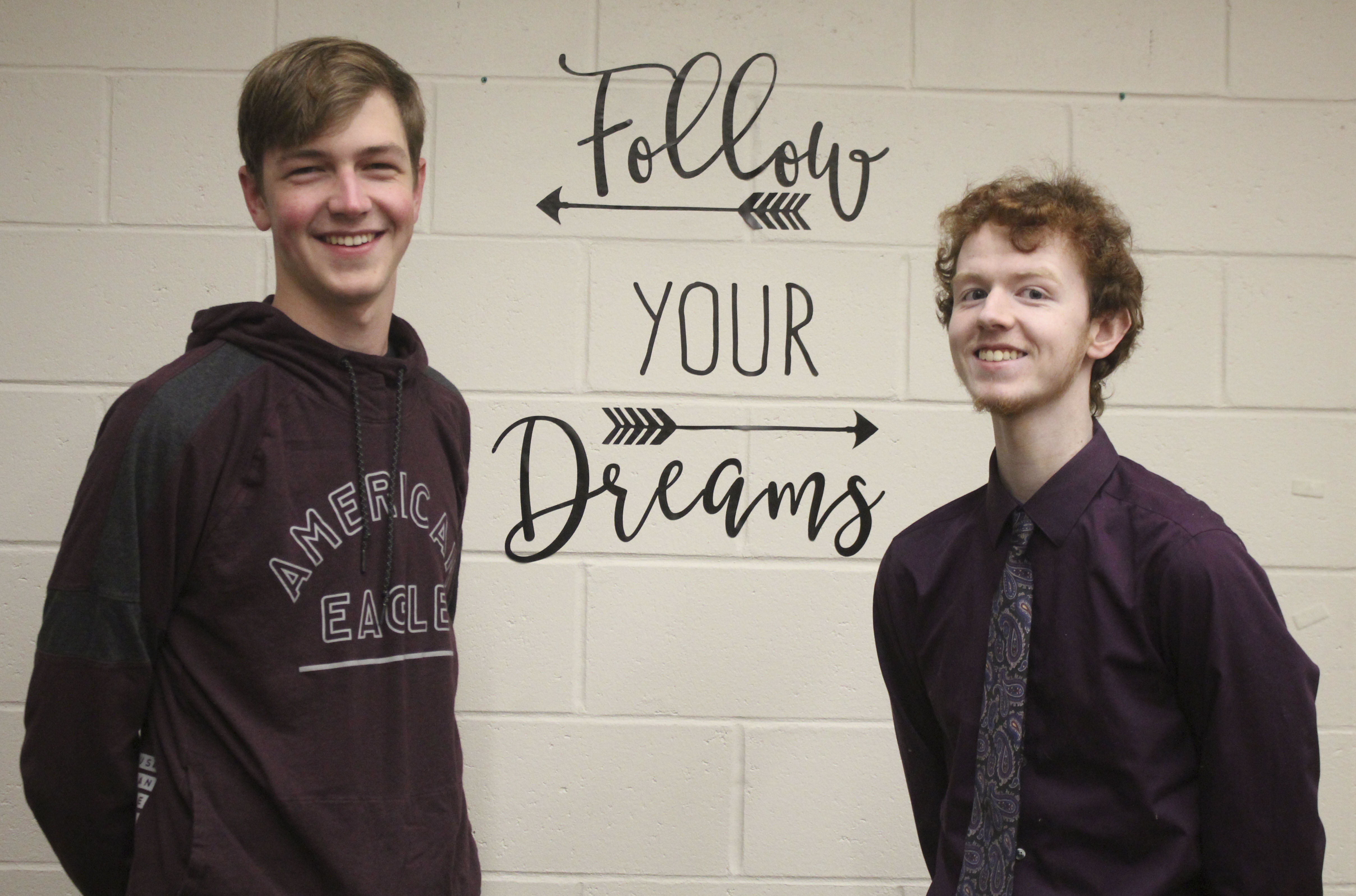 Monticello High School juniors Jeff Carlson (left) and Robby Holmes were nominated to participate in the All-State Individu- al Speech Festival, which was held March 25 at the University of Northern Iowa. Carlson was nomi- nated in the Radio News category, and Holmes was chosen for Solo Musical Theatre. (Photo by Pete Temple)