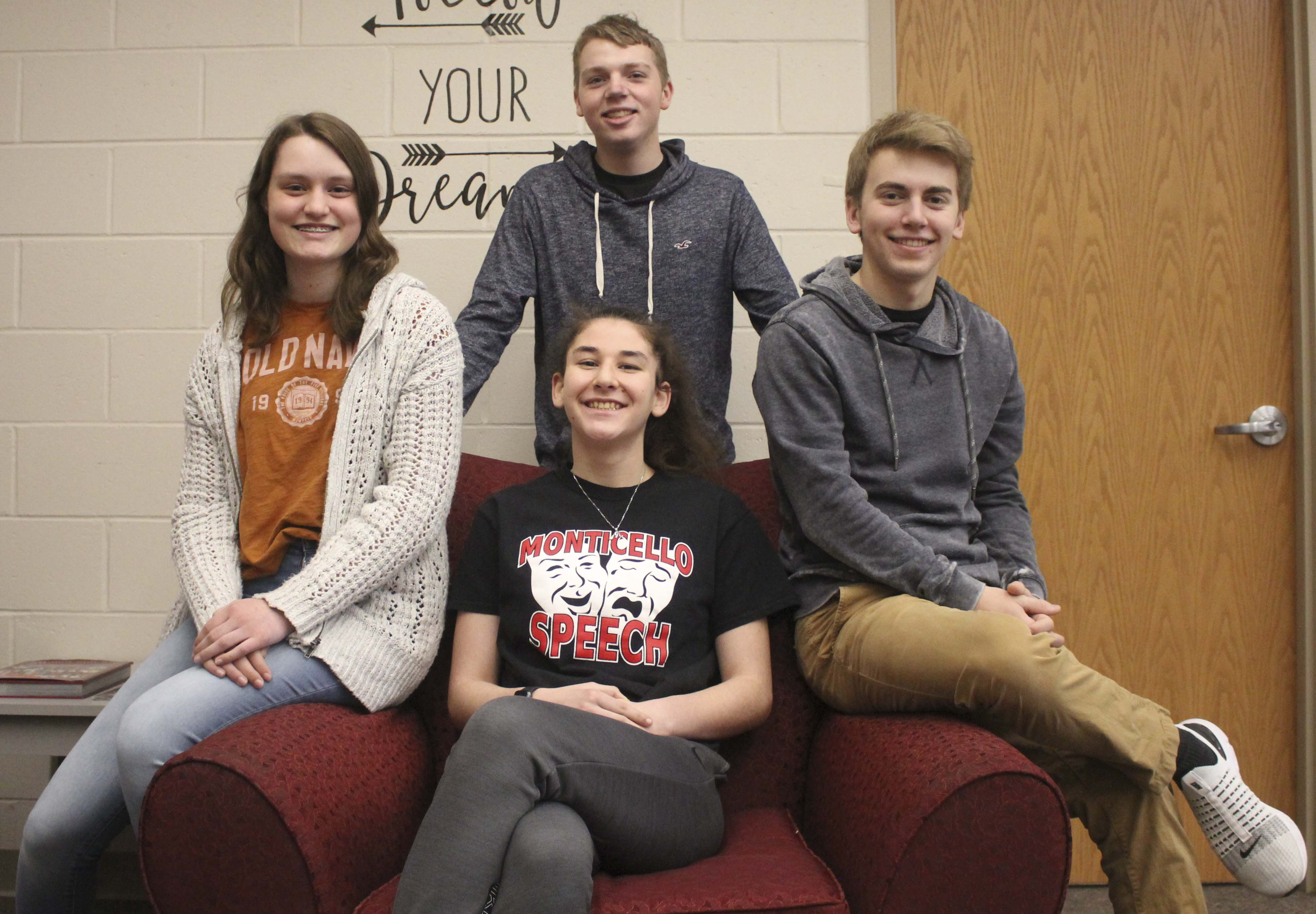 Four Monticello High School students were nominated for All-State Individual Speech. Seated from left are Lauren Koehler, Storytelling; Megan Mahoney, After-Dinner Speaking; and Grant Hospodarsky, Improv. Standing is Levi Temple, Solo Musical Theater. Their entries were submitted virtually. Due to COVID-19 restrictions there will be no All-State Individual Speech Festival this year. (Photo by Pete Temple)