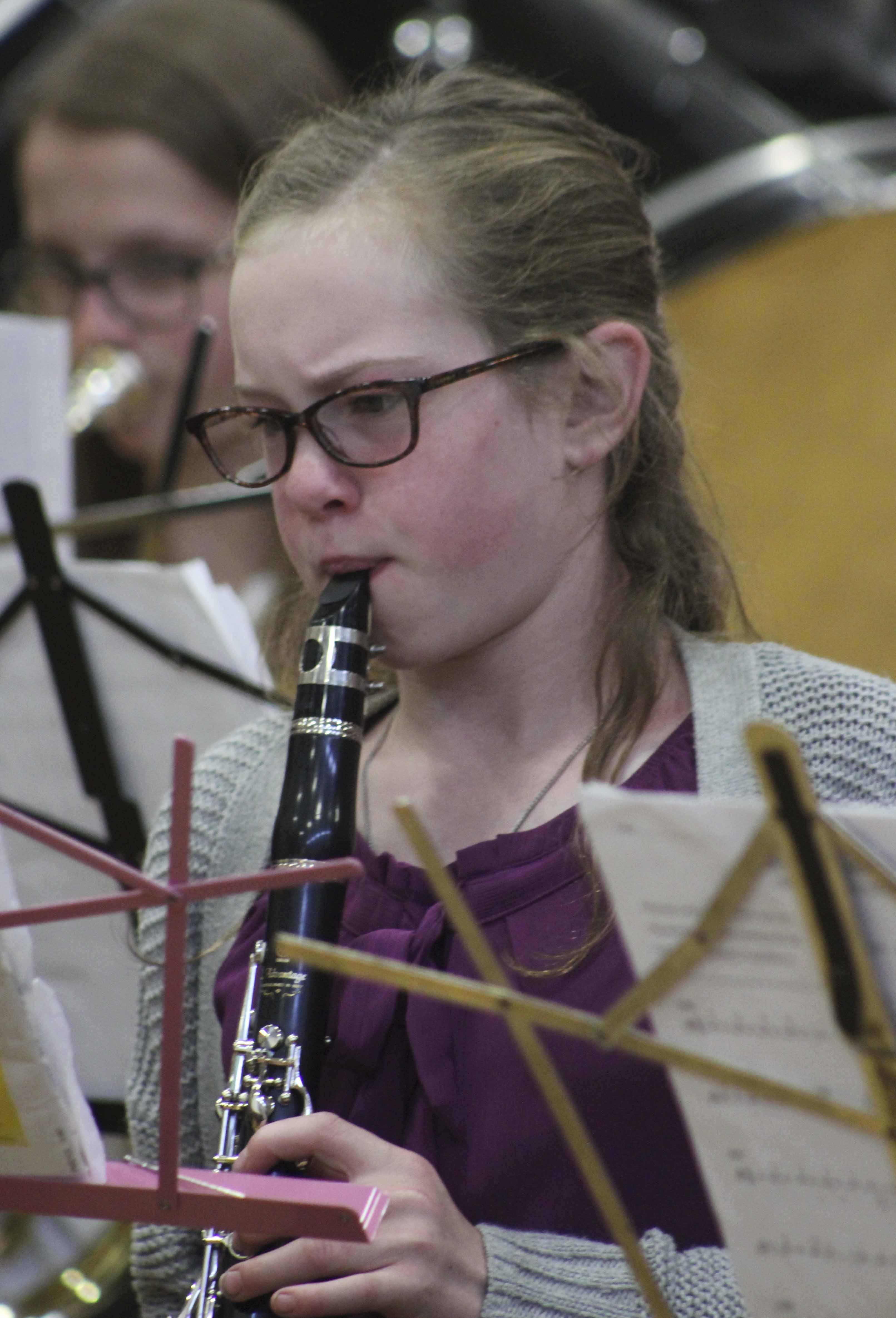 Performing in the clarinet section with the sixth-grade band at the Band Roundup is Emma Althoff.